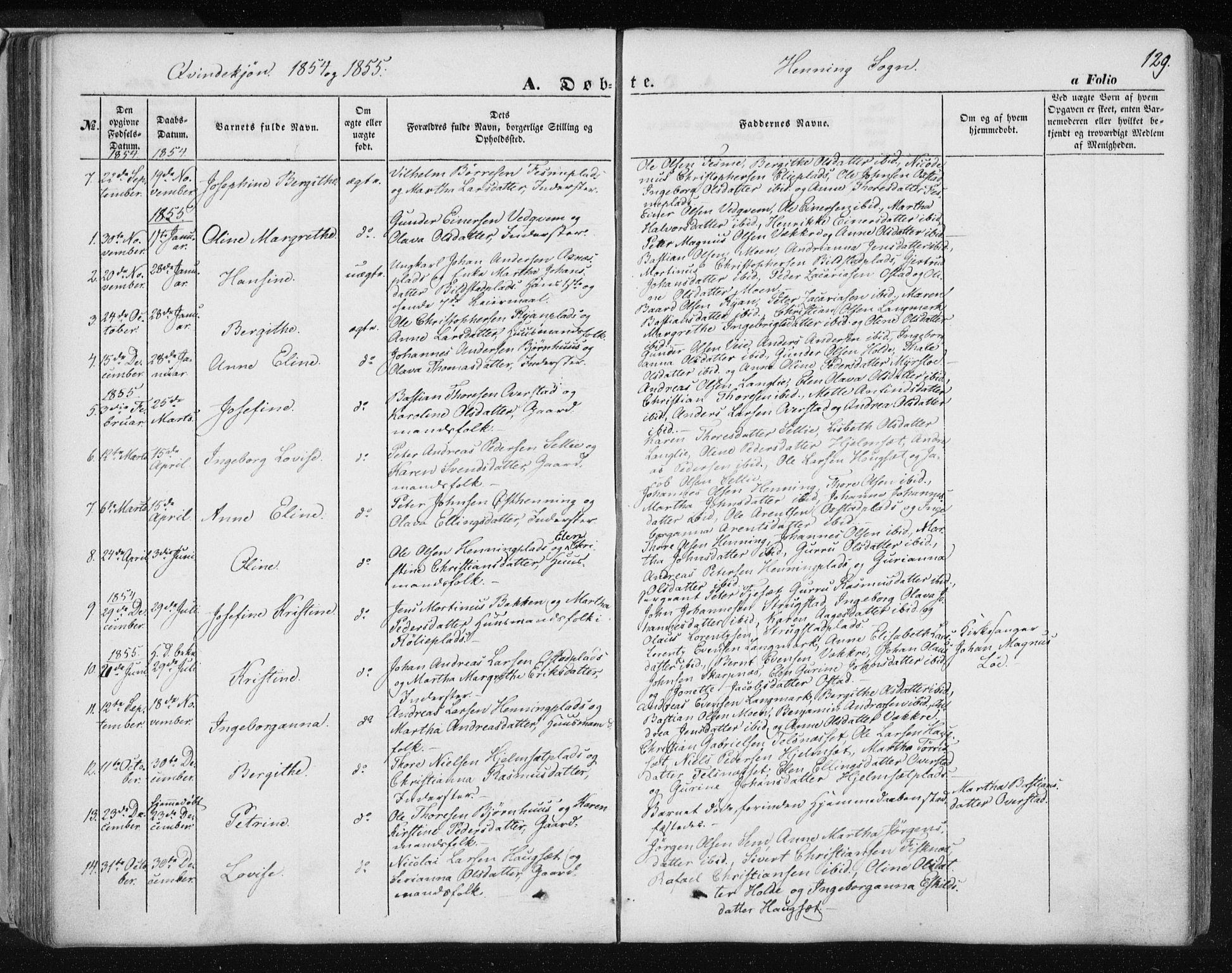 SAT, Ministerialprotokoller, klokkerbøker og fødselsregistre - Nord-Trøndelag, 735/L0342: Ministerialbok nr. 735A07 /3, 1849-1862, s. 129