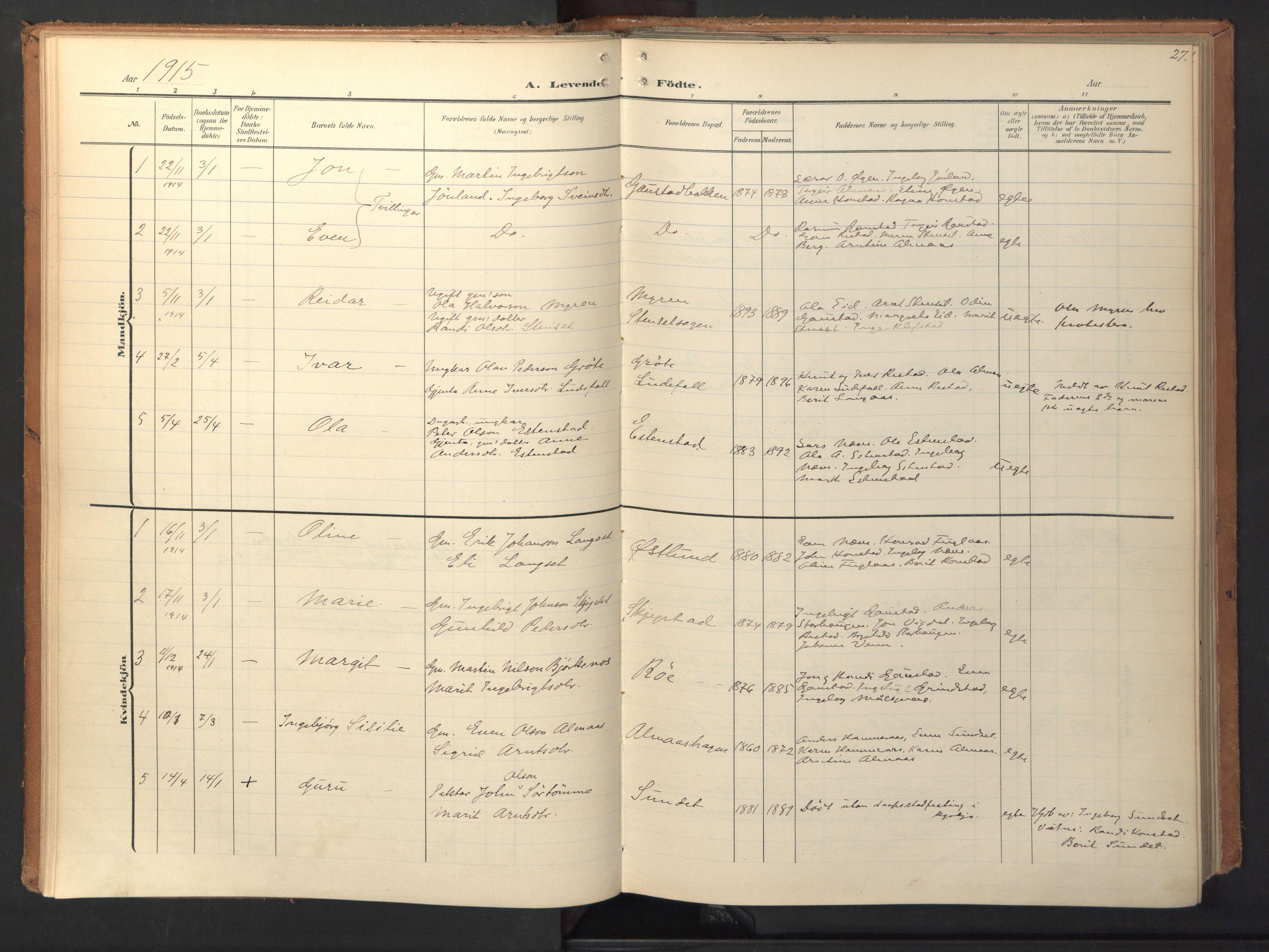 SAT, Ministerialprotokoller, klokkerbøker og fødselsregistre - Sør-Trøndelag, 694/L1128: Ministerialbok nr. 694A02, 1906-1931, s. 27