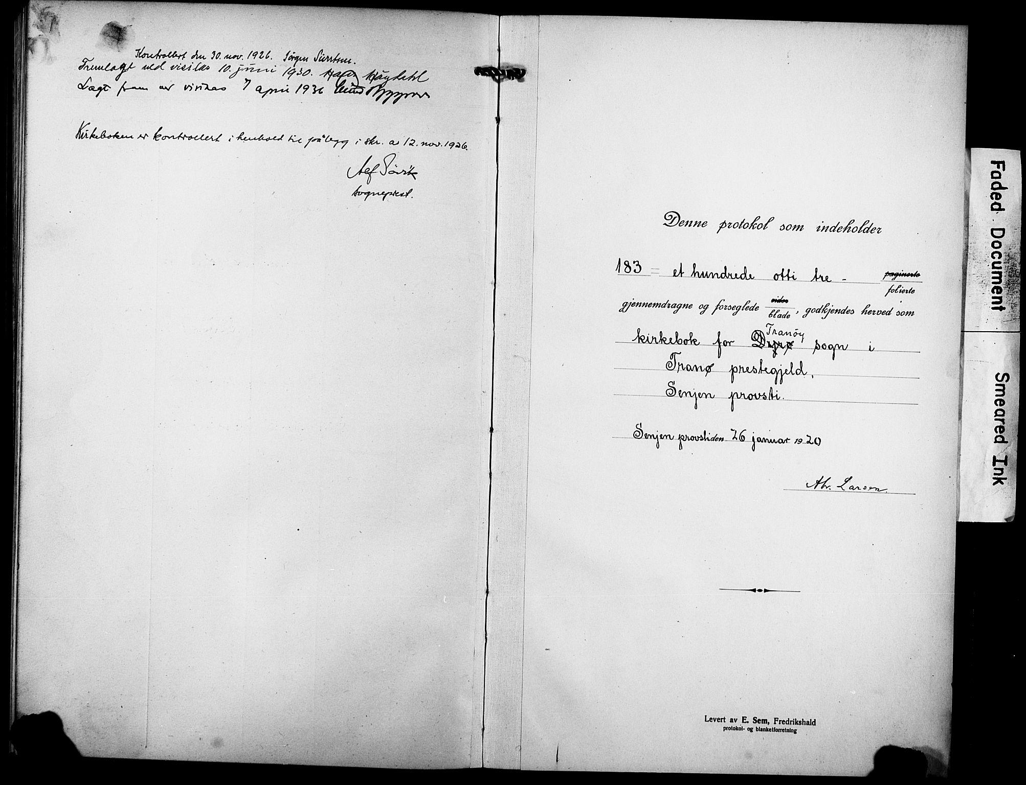 SATØ, Tranøy sokneprestkontor, I/Ia/Iab/L0006klokker: Klokkerbok nr. 6, 1919-1932