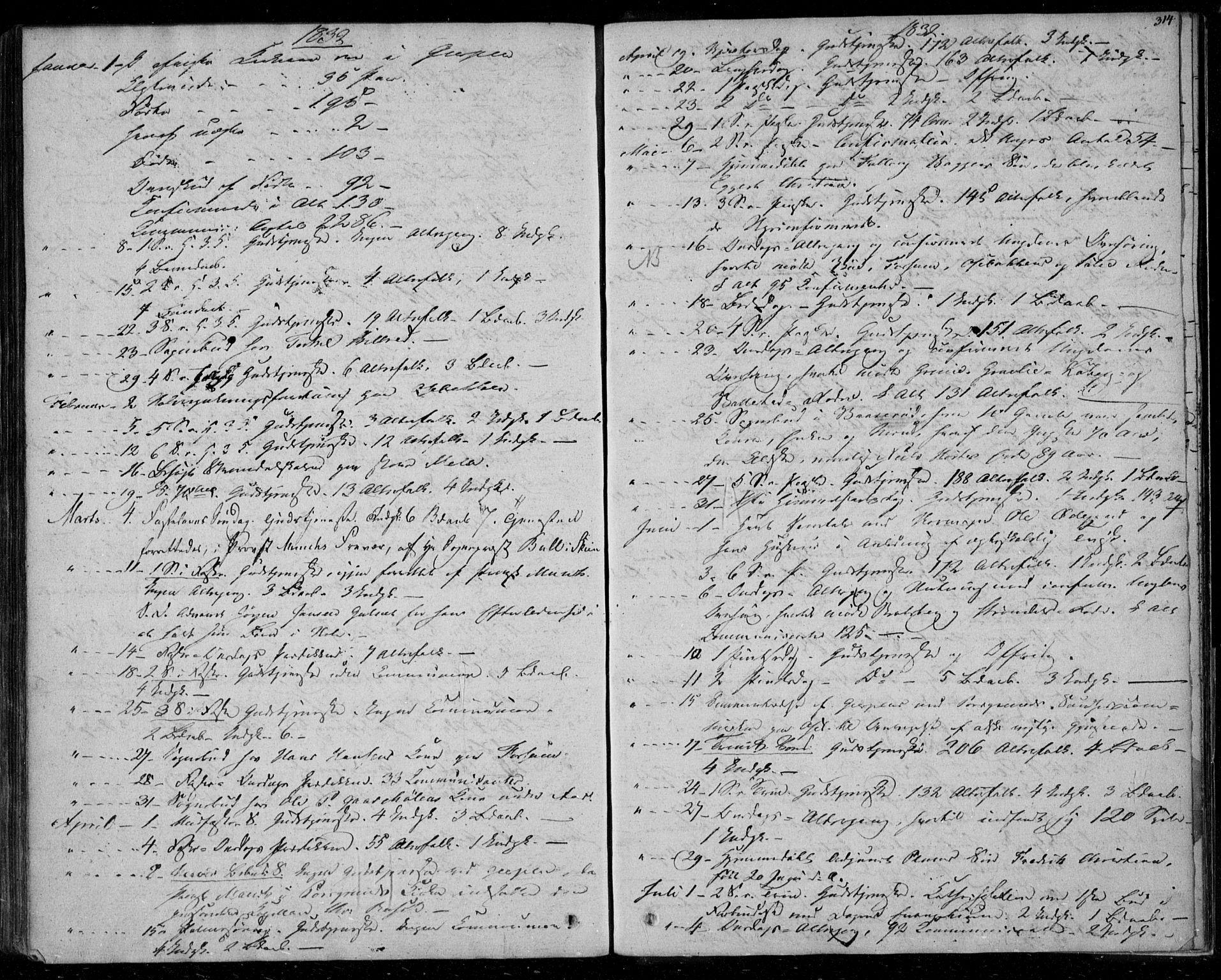 SAKO, Gjerpen kirkebøker, F/Fa/L0006: Ministerialbok nr. 6, 1829-1834, s. 314
