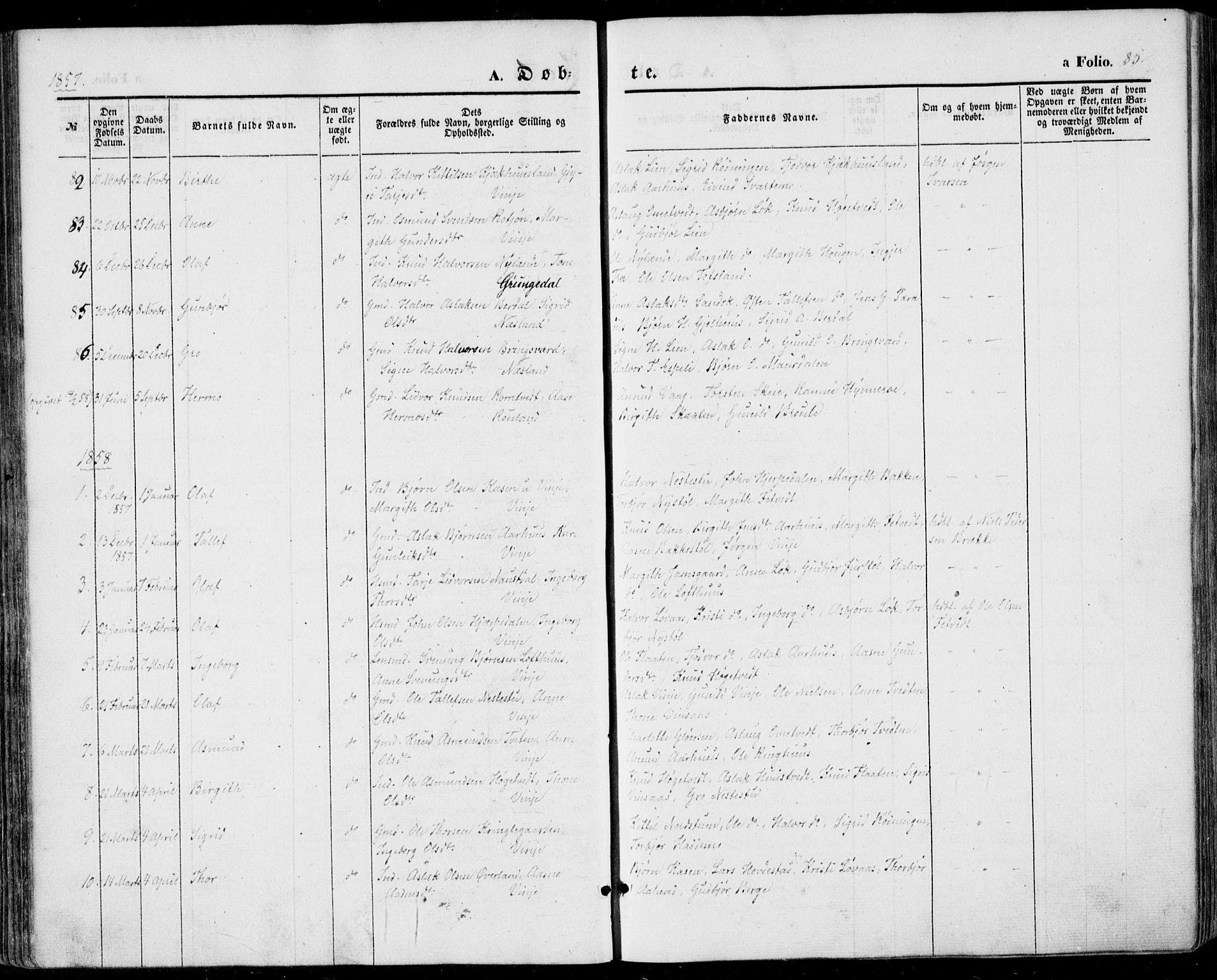 SAKO, Vinje kirkebøker, F/Fa/L0004: Ministerialbok nr. I 4, 1843-1869, s. 85