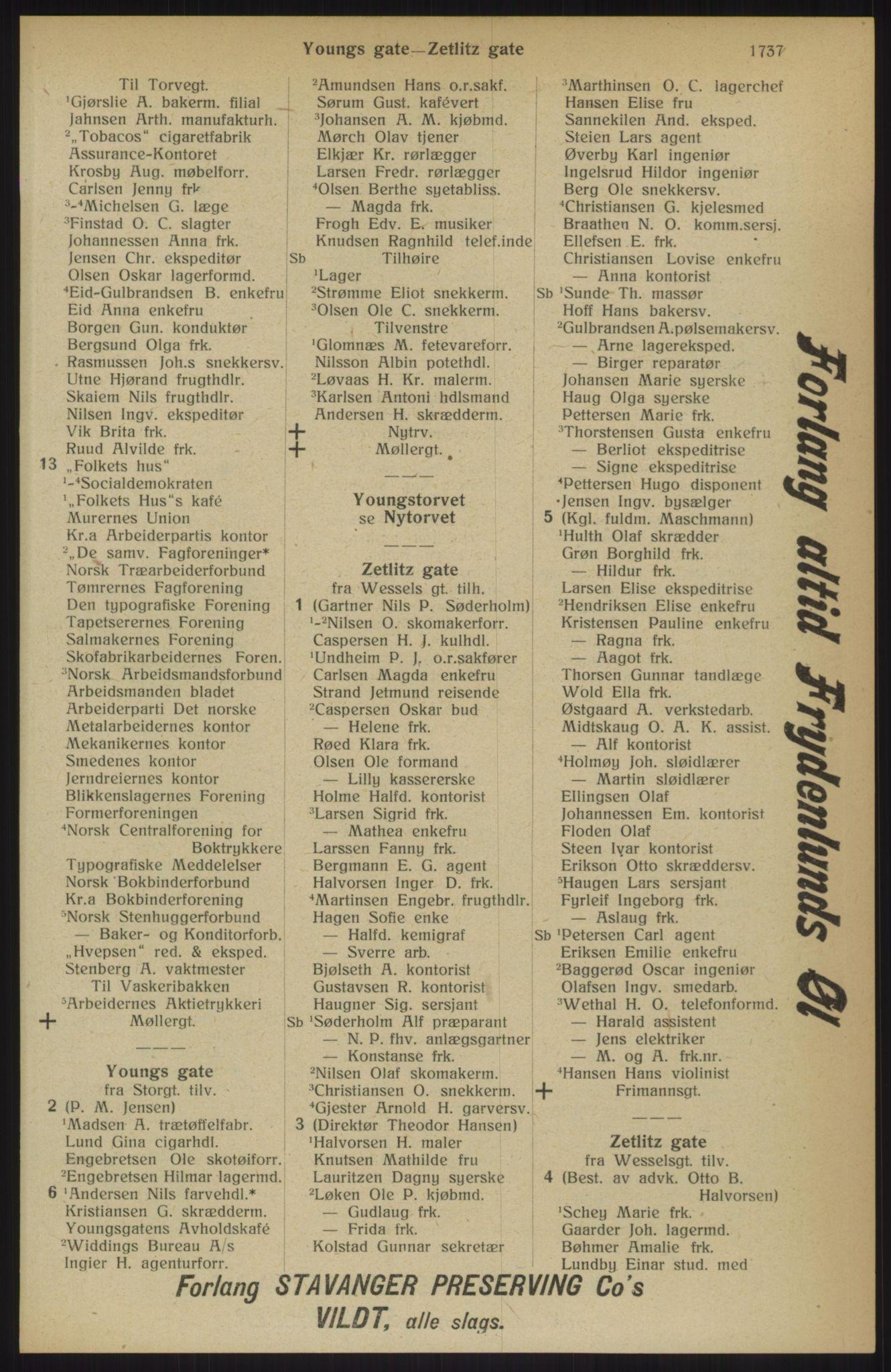 RA, Kristiania adressebok (publikasjon)*, 1914, s. 1737