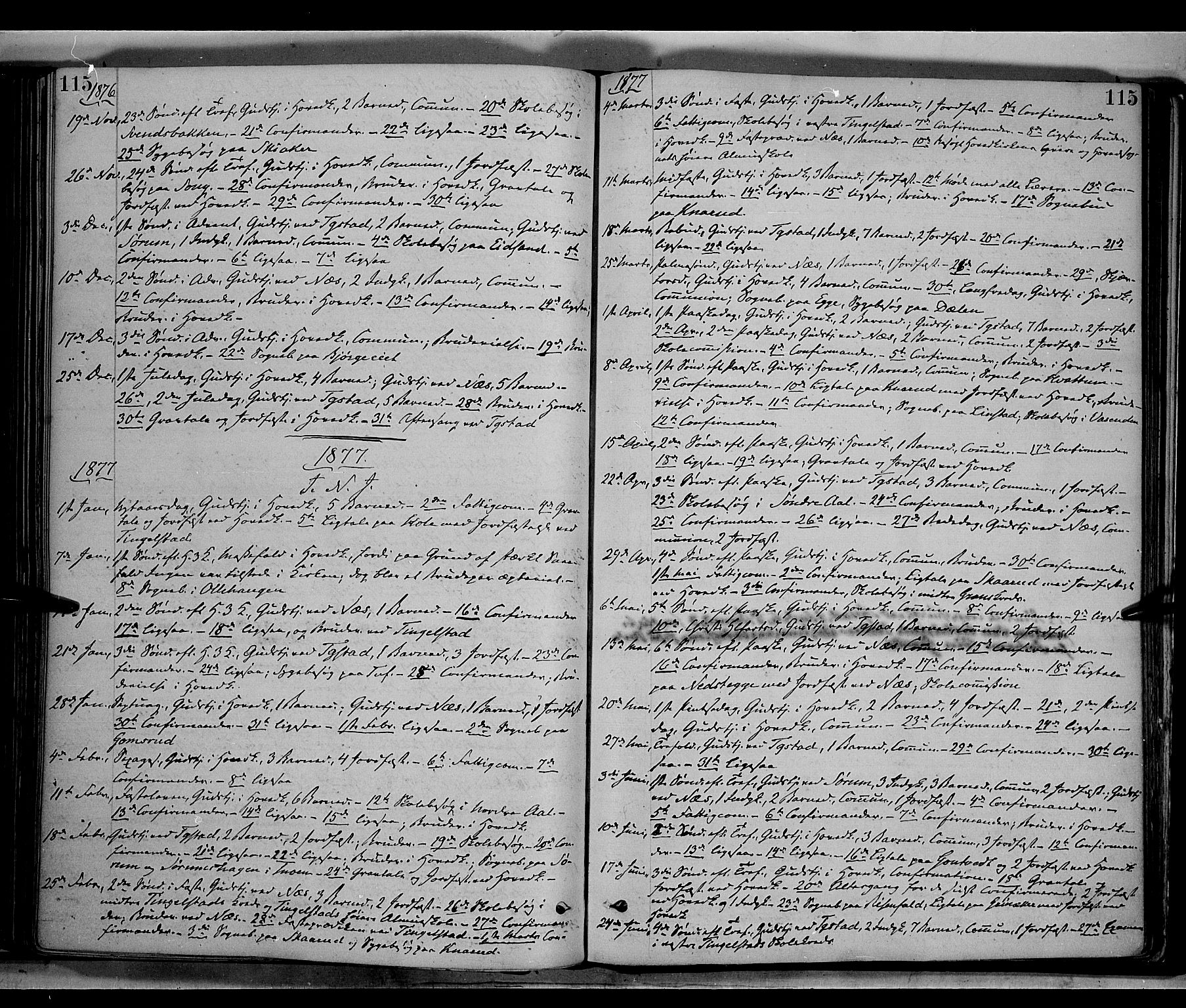 SAH, Gran prestekontor, Ministerialbok nr. 13, 1875-1879, s. 115