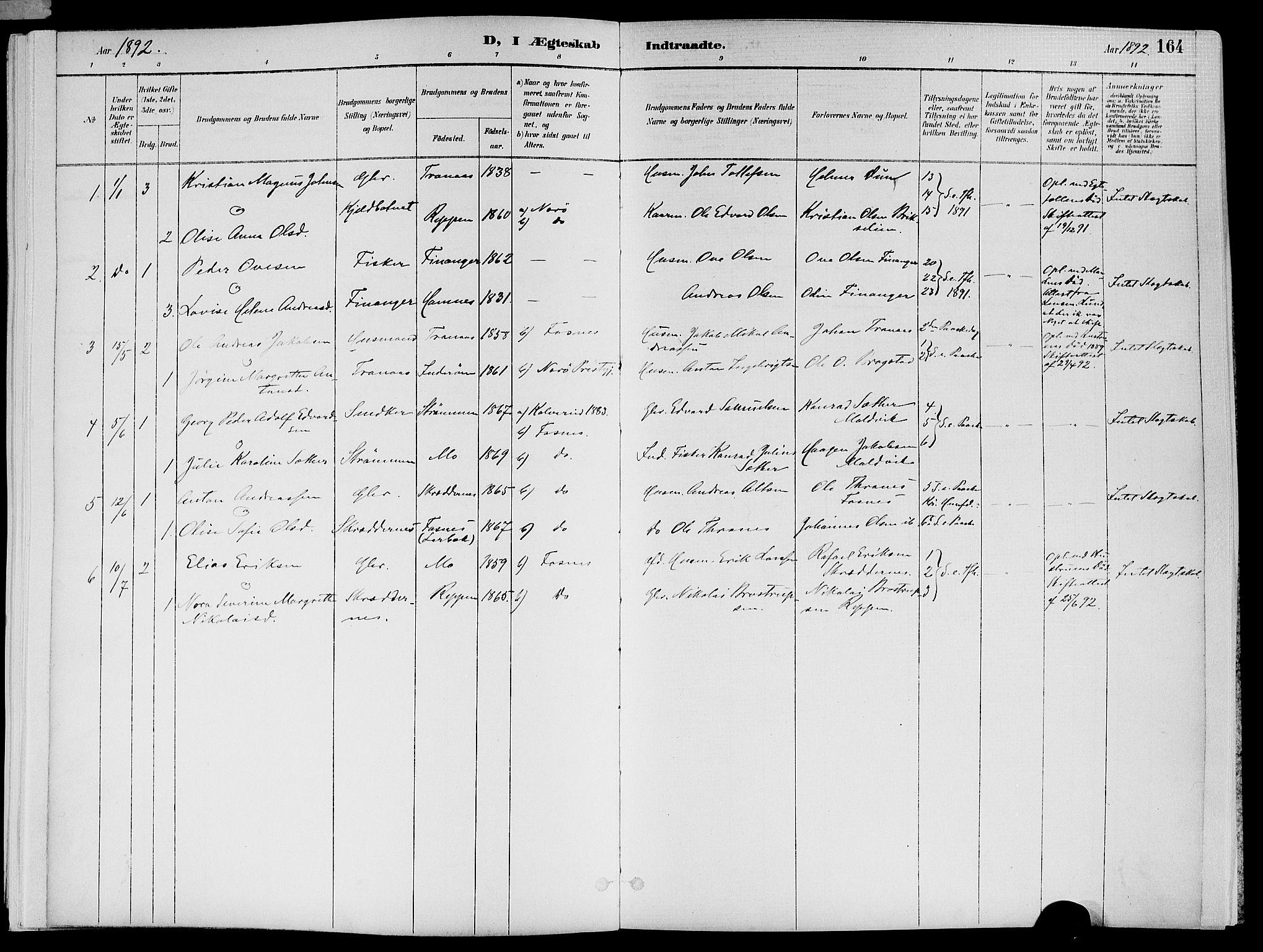 SAT, Ministerialprotokoller, klokkerbøker og fødselsregistre - Nord-Trøndelag, 773/L0617: Ministerialbok nr. 773A08, 1887-1910, s. 164