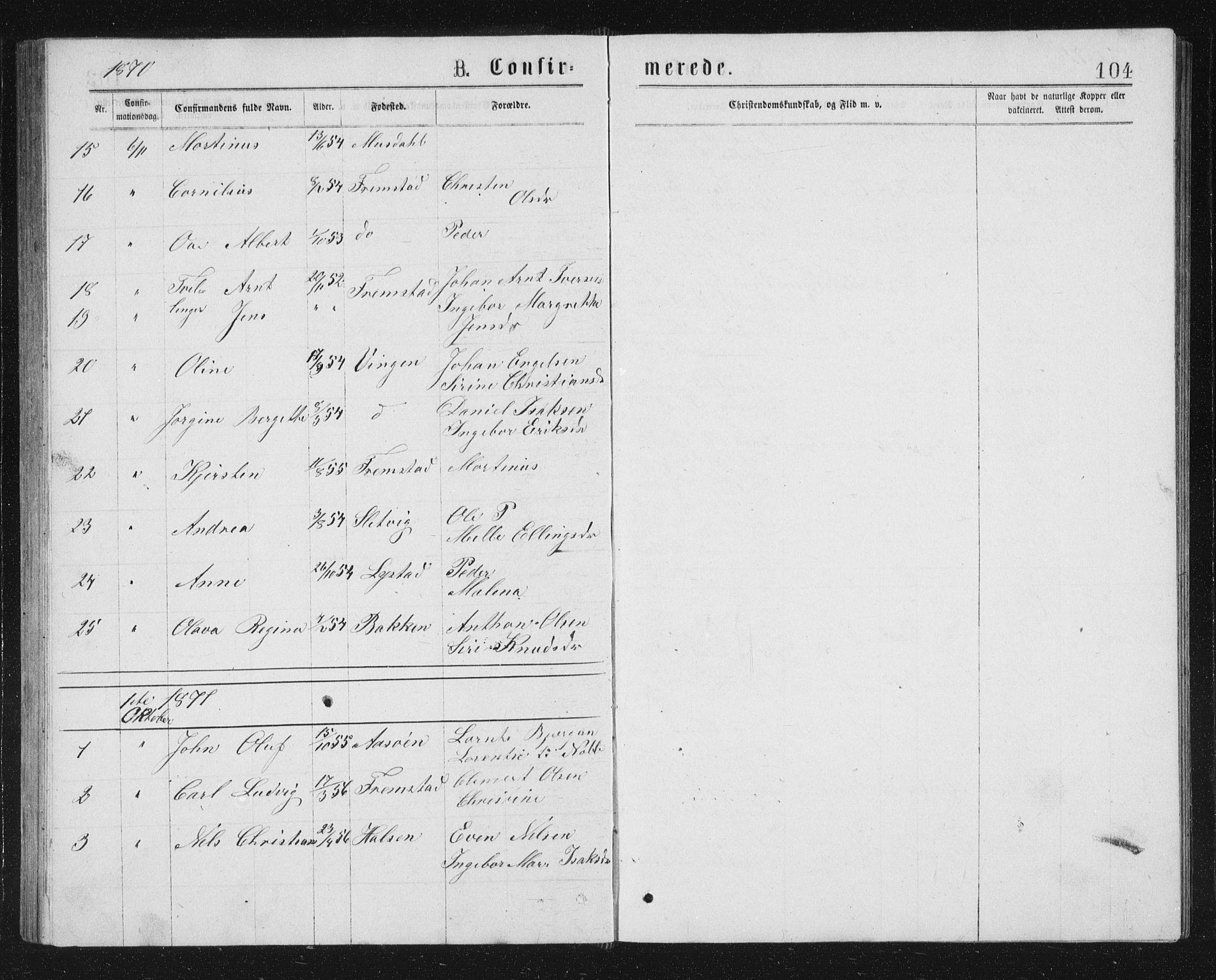 SAT, Ministerialprotokoller, klokkerbøker og fødselsregistre - Sør-Trøndelag, 662/L0756: Klokkerbok nr. 662C01, 1869-1891, s. 104