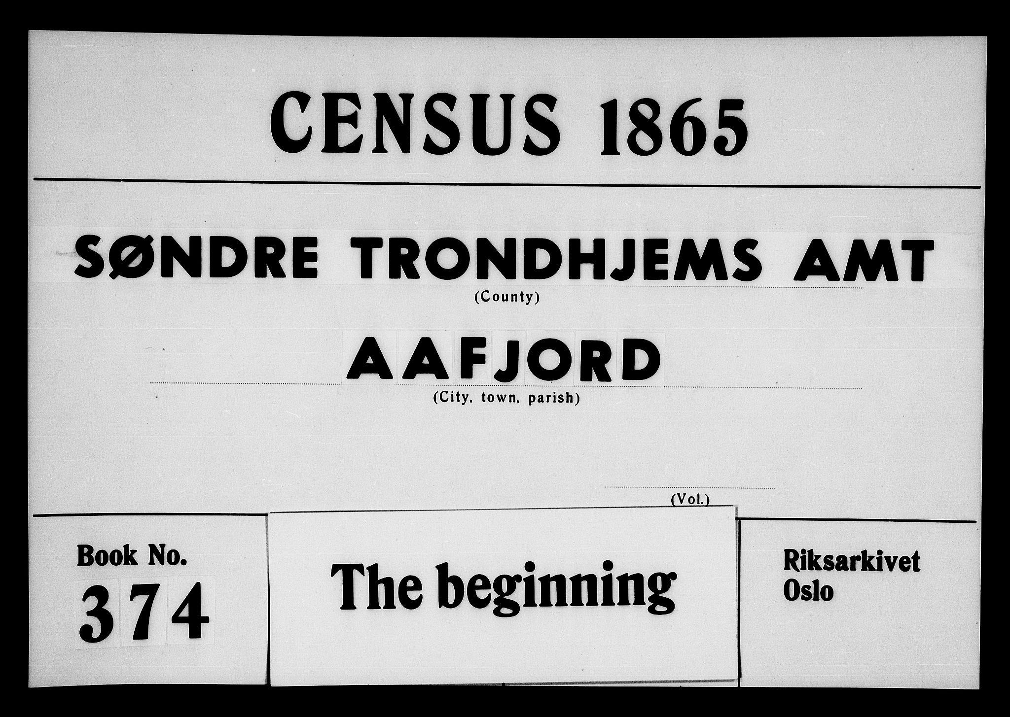 RA, Folketelling 1865 for 1630P Aafjorden prestegjeld, 1865, s. 1
