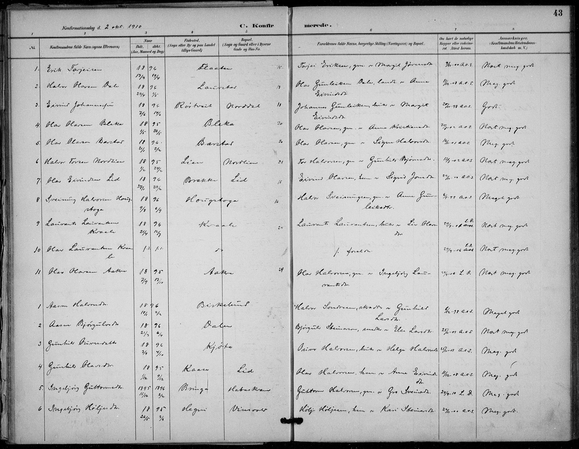 SAKO, Seljord kirkebøker, F/Fb/L0002: Ministerialbok nr. II 2, 1887-1917, s. 43