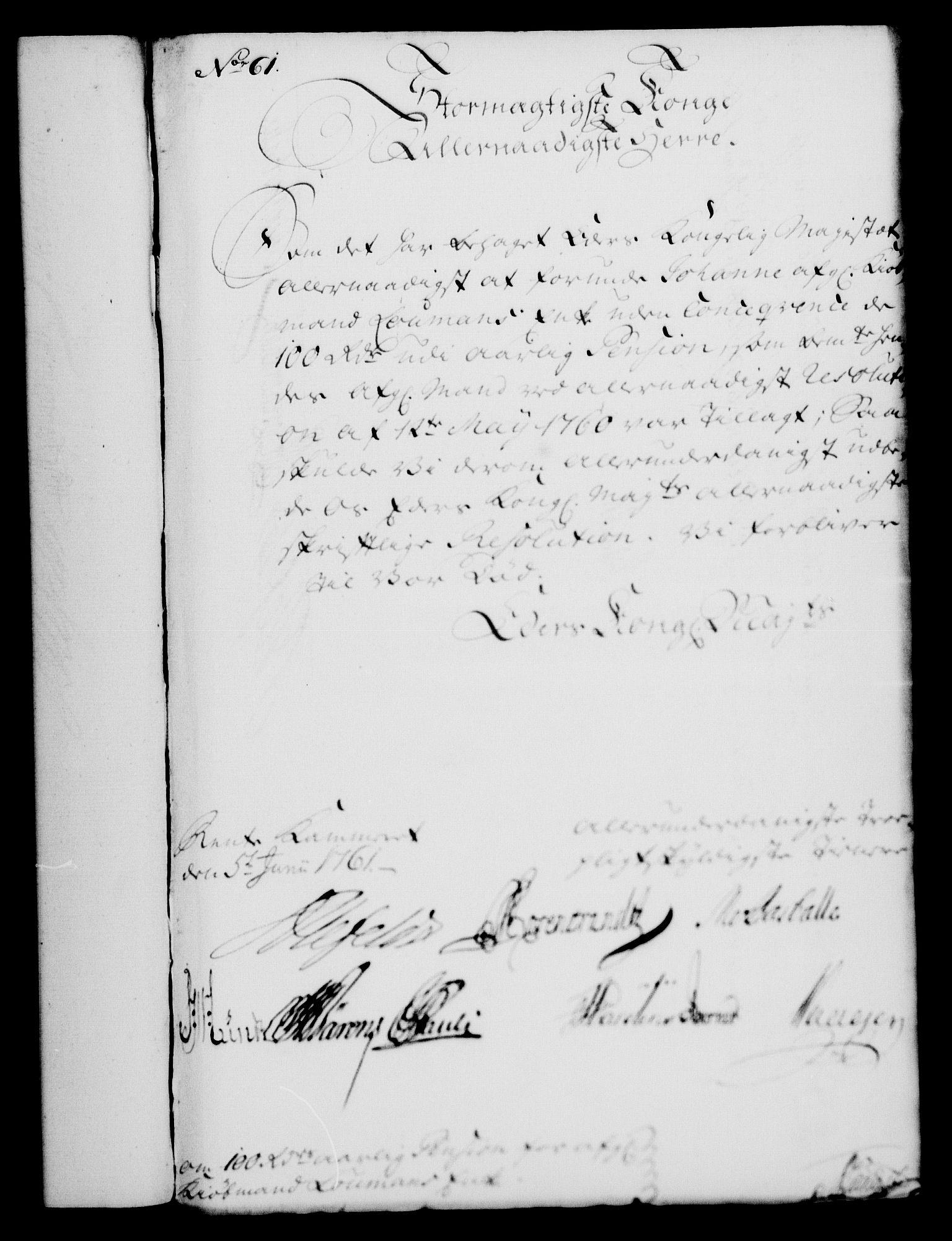 RA, Rentekammeret, Kammerkanselliet, G/Gf/Gfa/L0043: Norsk relasjons- og resolusjonsprotokoll (merket RK 52.43), 1761, s. 240