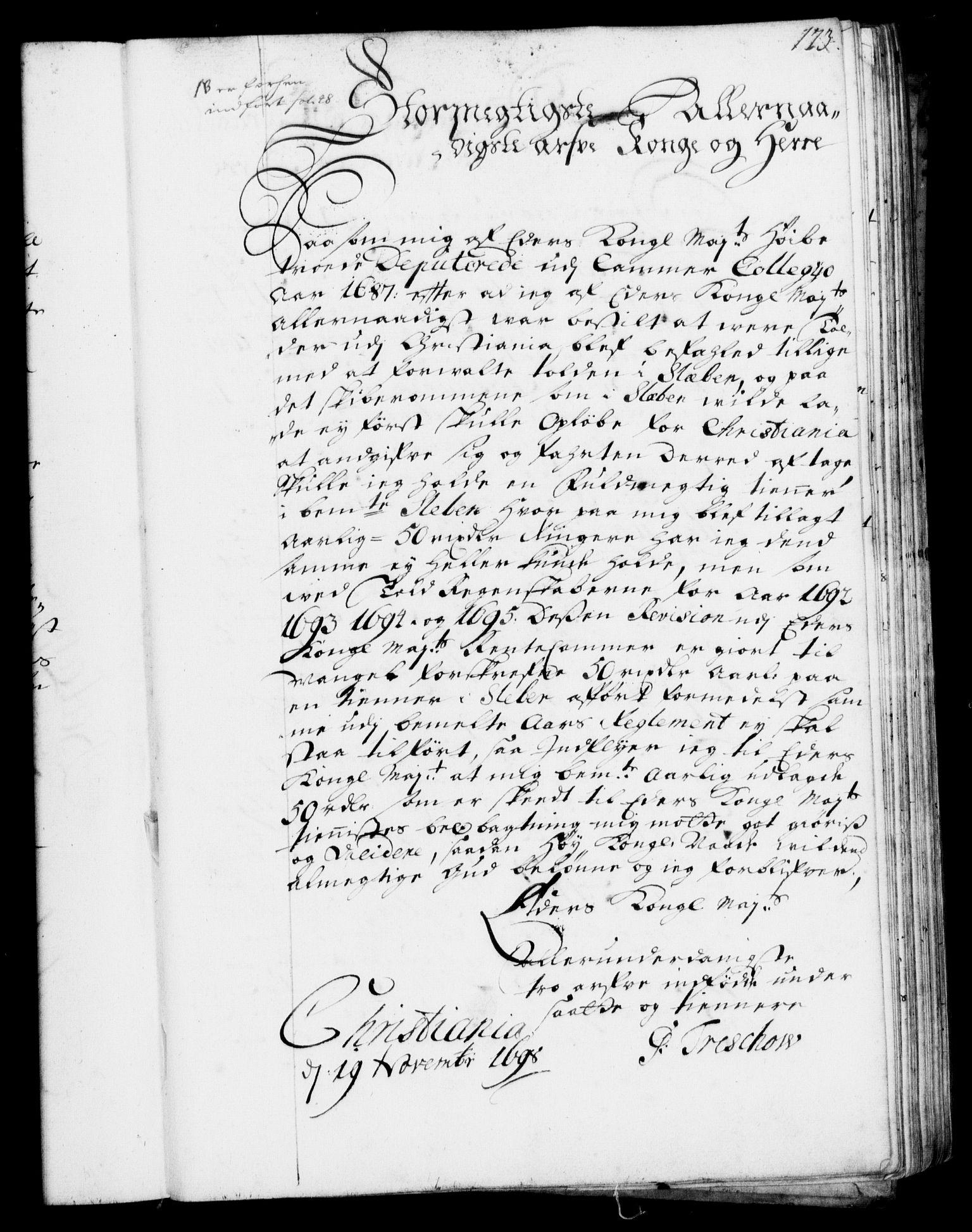 RA, Rentekammeret, Kammerkanselliet, G/Gf/Gfa/L0001: Resolusjonsprotokoll med register (merket RK 52.1), 1695-1706, s. 173