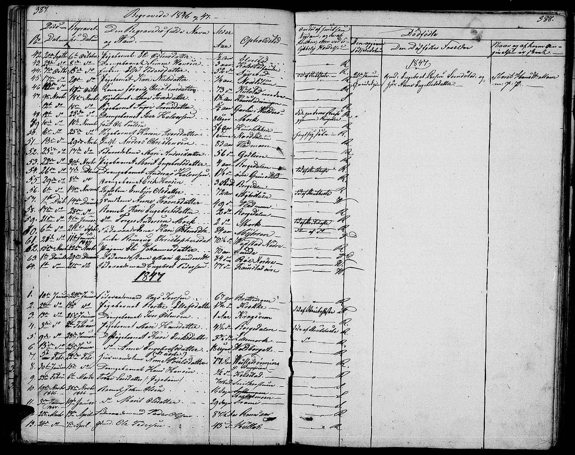 SAH, Ringebu prestekontor, Klokkerbok nr. 2, 1839-1853, s. 387-388