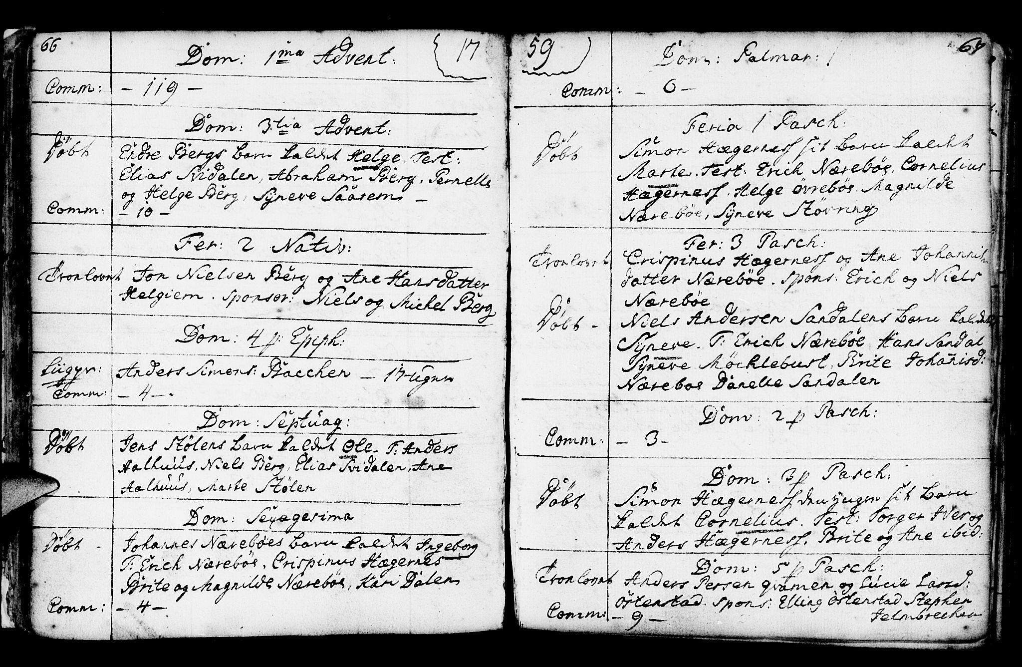SAB, Jølster Sokneprestembete, Ministerialbok nr. A 3, 1748-1789, s. 66-67