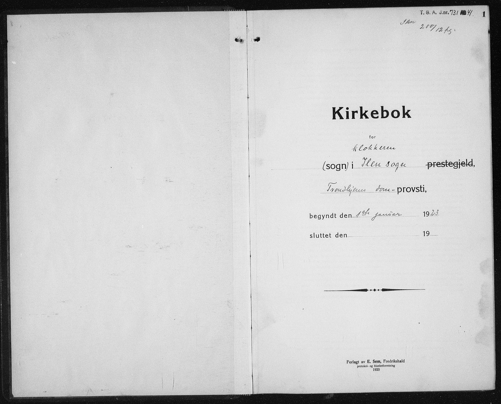 SAT, Ministerialprotokoller, klokkerbøker og fødselsregistre - Sør-Trøndelag, 603/L0176: Klokkerbok nr. 603C04, 1923-1941, s. 1