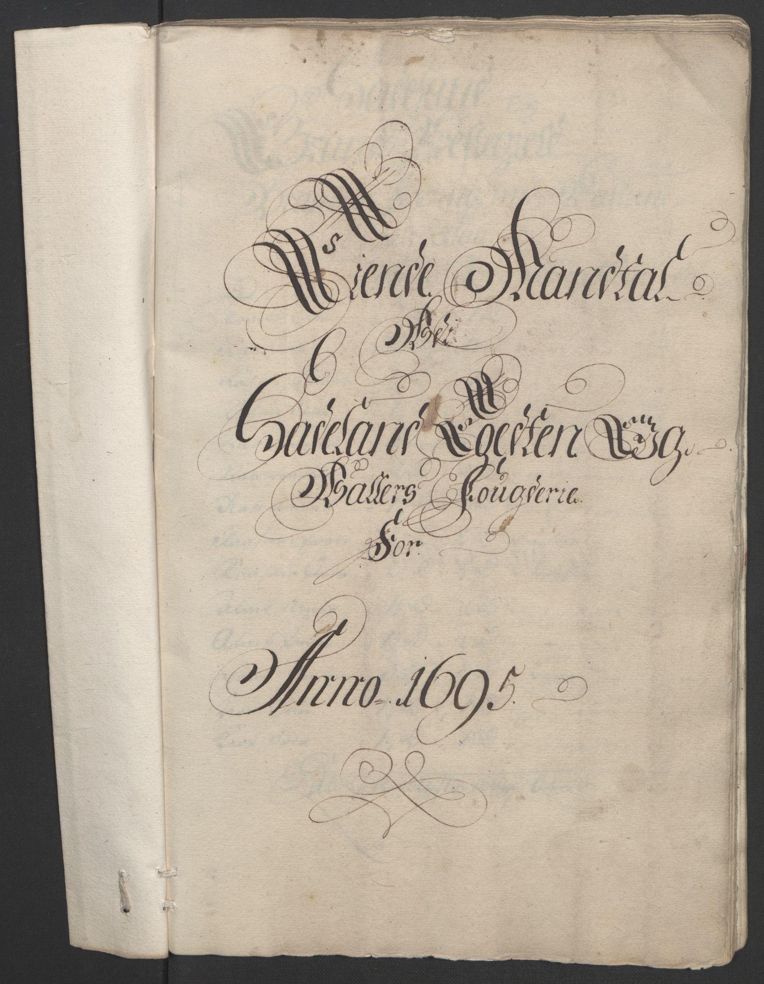 RA, Rentekammeret inntil 1814, Reviderte regnskaper, Fogderegnskap, R18/L1293: Fogderegnskap Hadeland, Toten og Valdres, 1695, s. 17