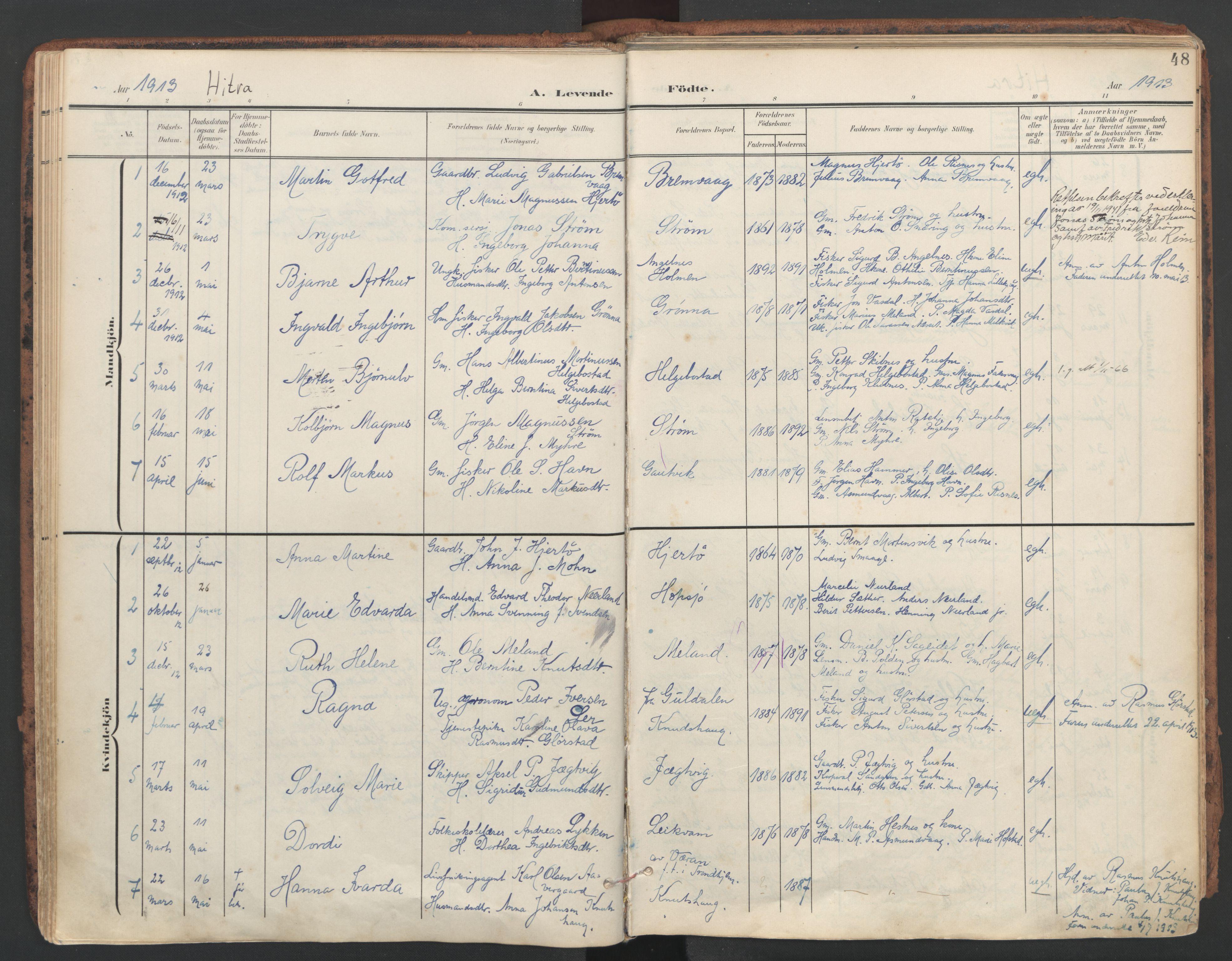 SAT, Ministerialprotokoller, klokkerbøker og fødselsregistre - Sør-Trøndelag, 634/L0537: Ministerialbok nr. 634A13, 1896-1922, s. 48
