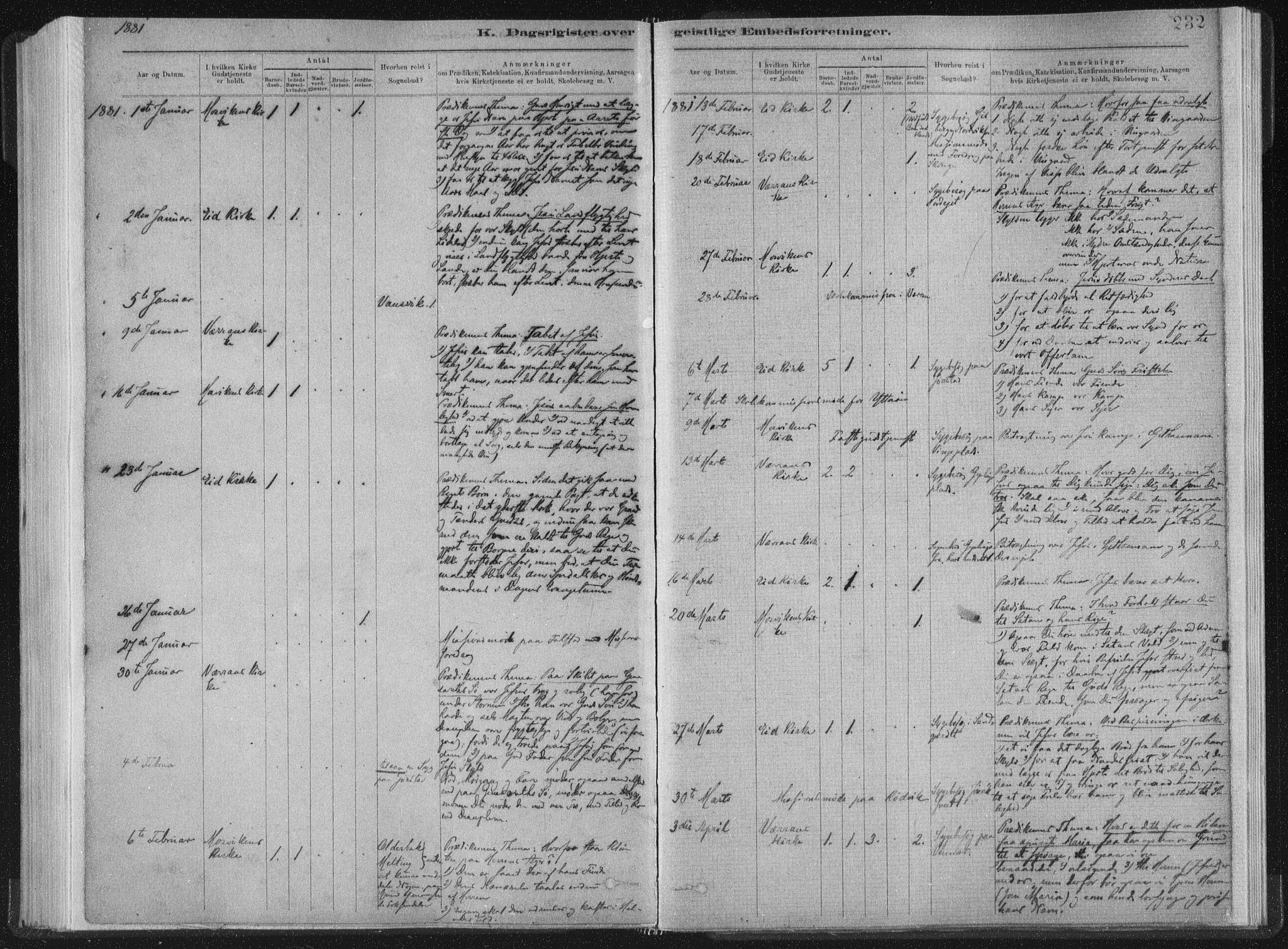 SAT, Ministerialprotokoller, klokkerbøker og fødselsregistre - Nord-Trøndelag, 722/L0220: Ministerialbok nr. 722A07, 1881-1908, s. 232
