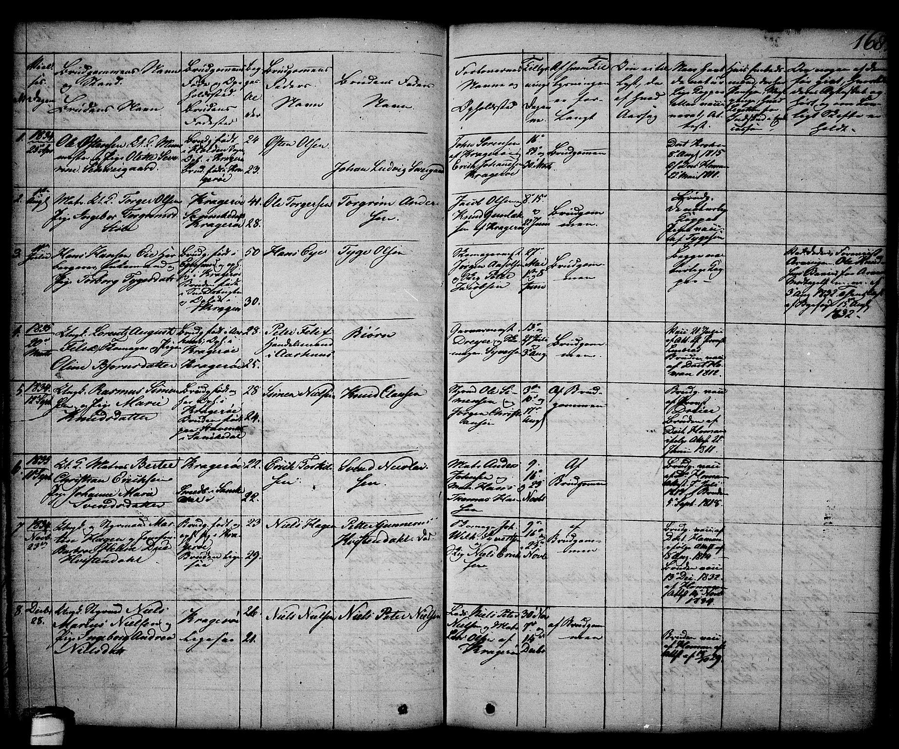 SAKO, Kragerø kirkebøker, G/Ga/L0003: Klokkerbok nr. 3, 1832-1852, s. 168