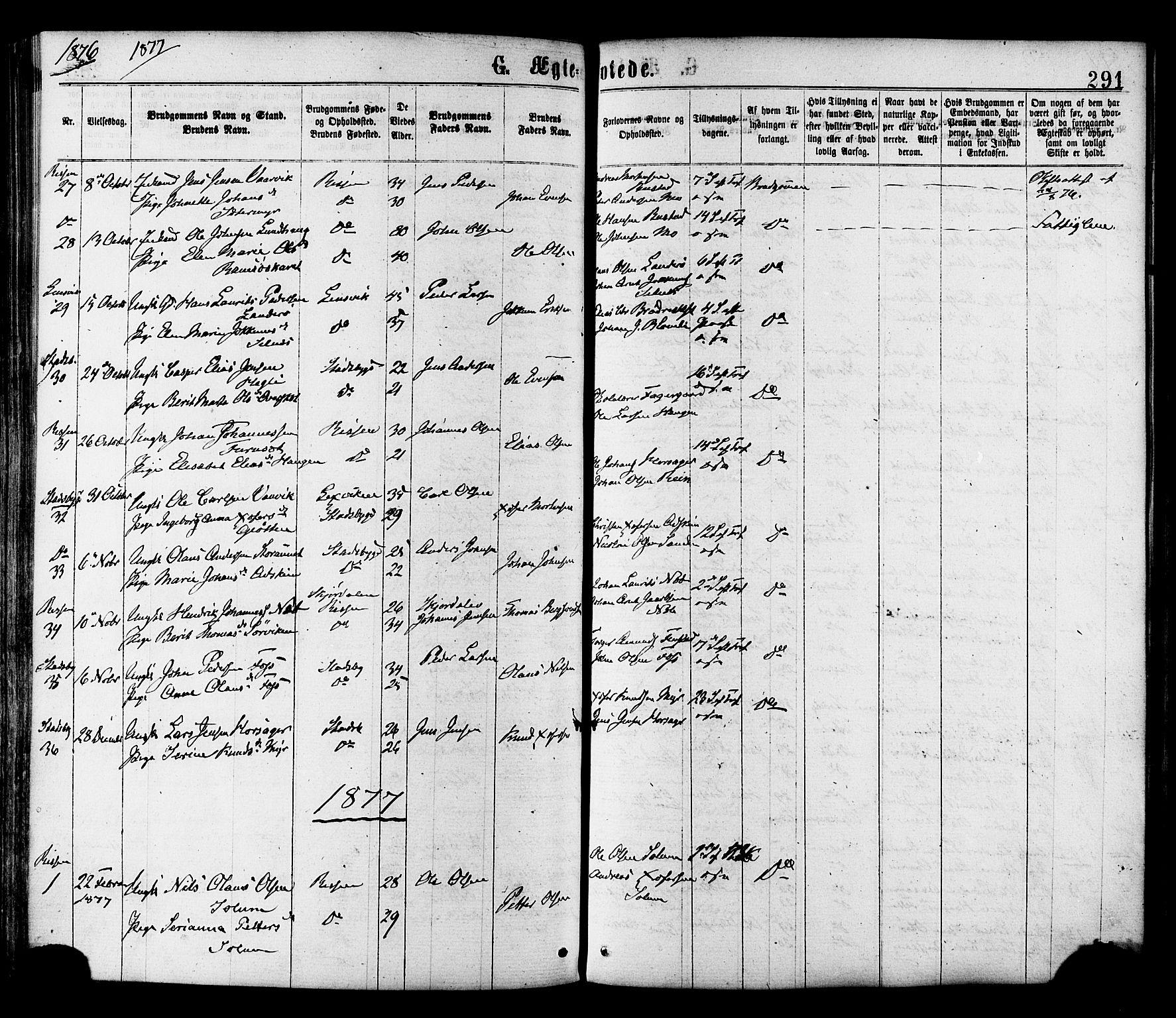 SAT, Ministerialprotokoller, klokkerbøker og fødselsregistre - Sør-Trøndelag, 646/L0613: Ministerialbok nr. 646A11, 1870-1884, s. 291