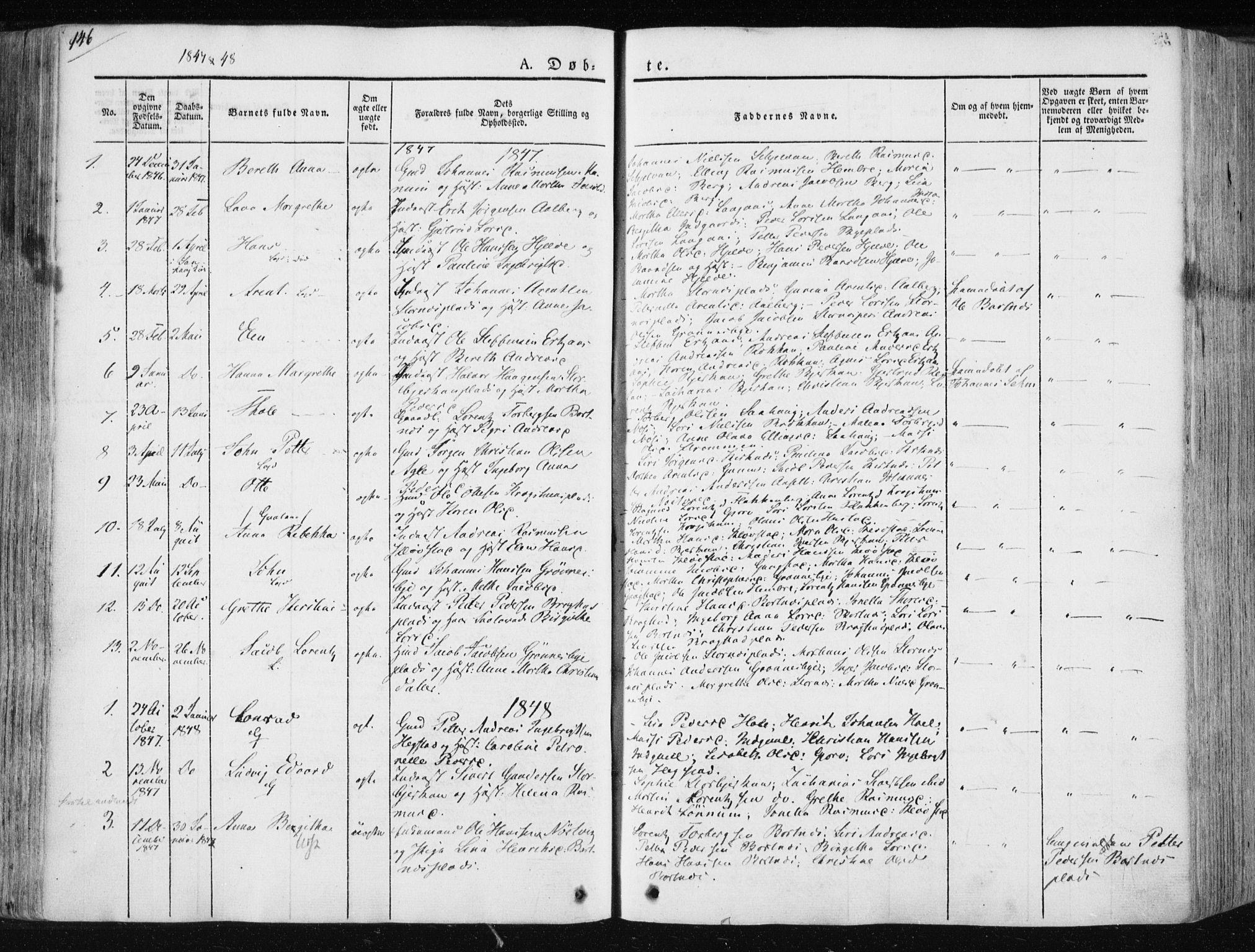 SAT, Ministerialprotokoller, klokkerbøker og fødselsregistre - Nord-Trøndelag, 730/L0280: Ministerialbok nr. 730A07 /3, 1840-1854, s. 146