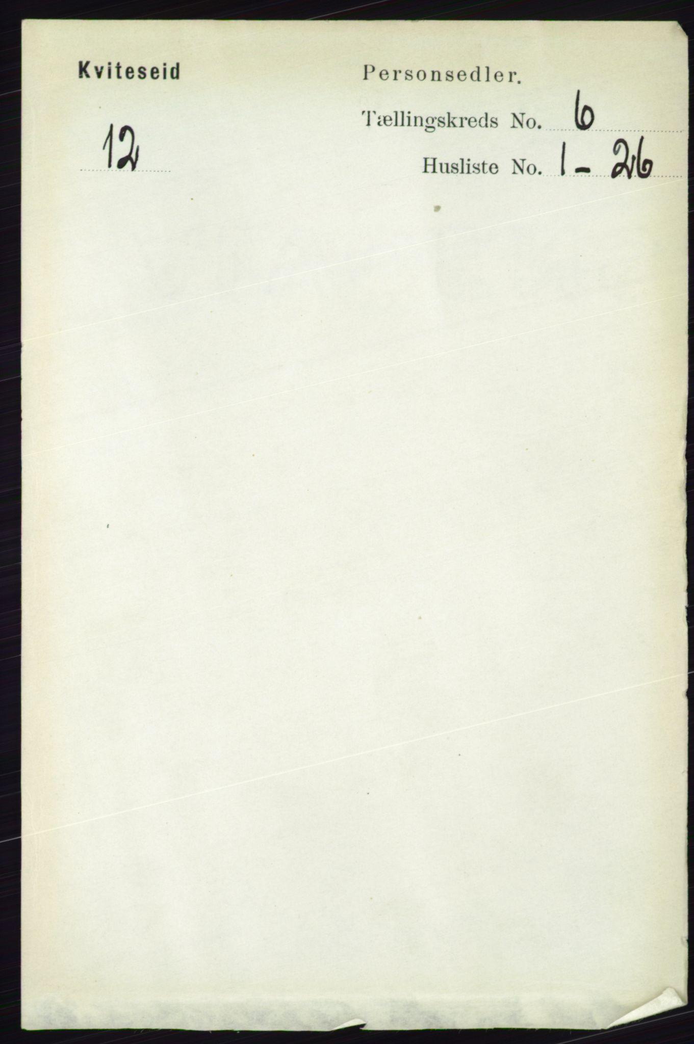RA, Folketelling 1891 for 0829 Kviteseid herred, 1891, s. 1167