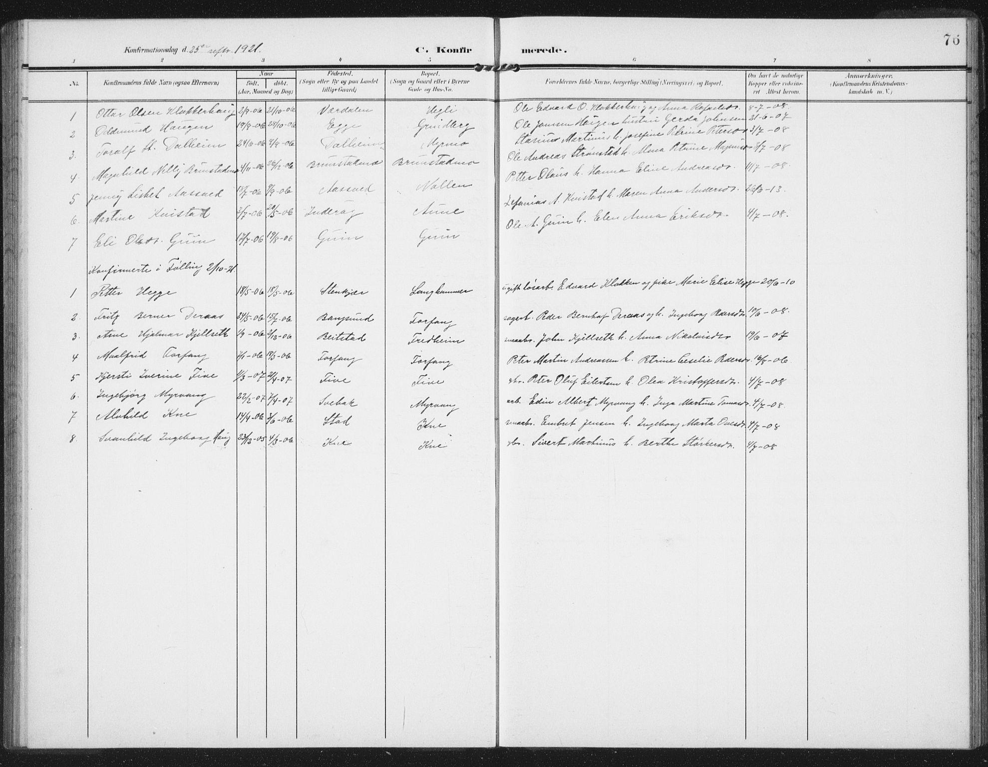 SAT, Ministerialprotokoller, klokkerbøker og fødselsregistre - Nord-Trøndelag, 747/L0460: Klokkerbok nr. 747C02, 1908-1939, s. 76