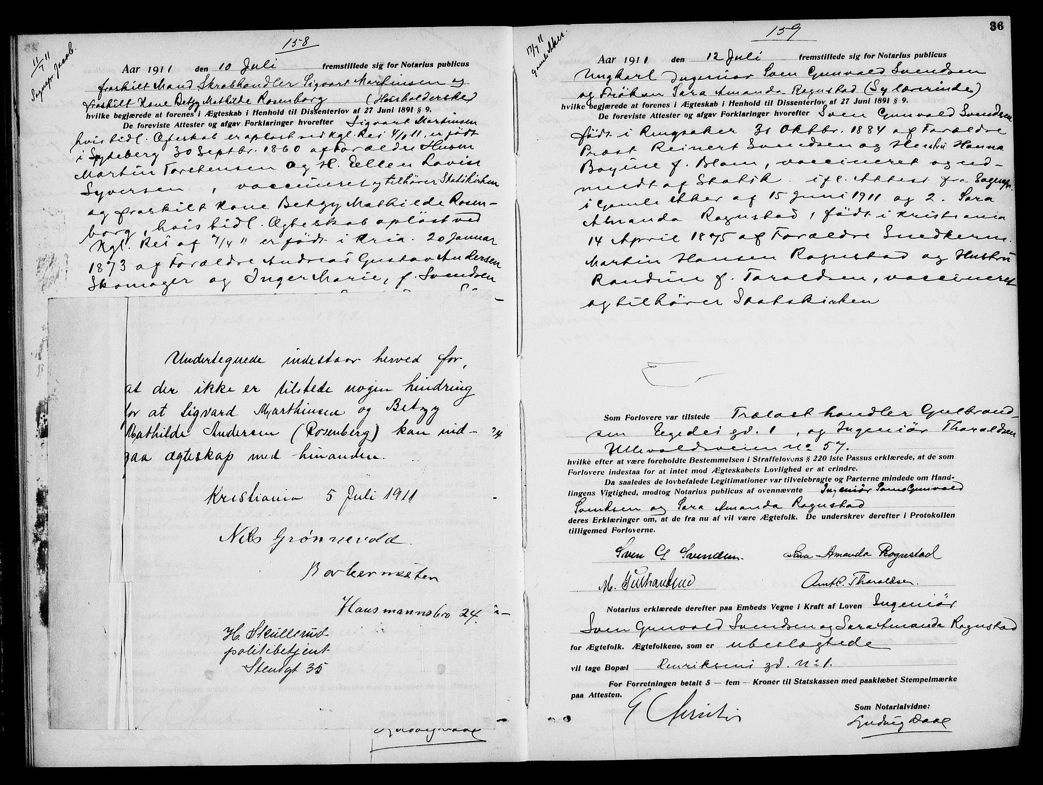 SAO, Oslo byfogd avd. I, L/Lb/Lbb/L0008: Notarialprotokoll, rekke II: Vigsler, 1911-1913, s. 35b-36a