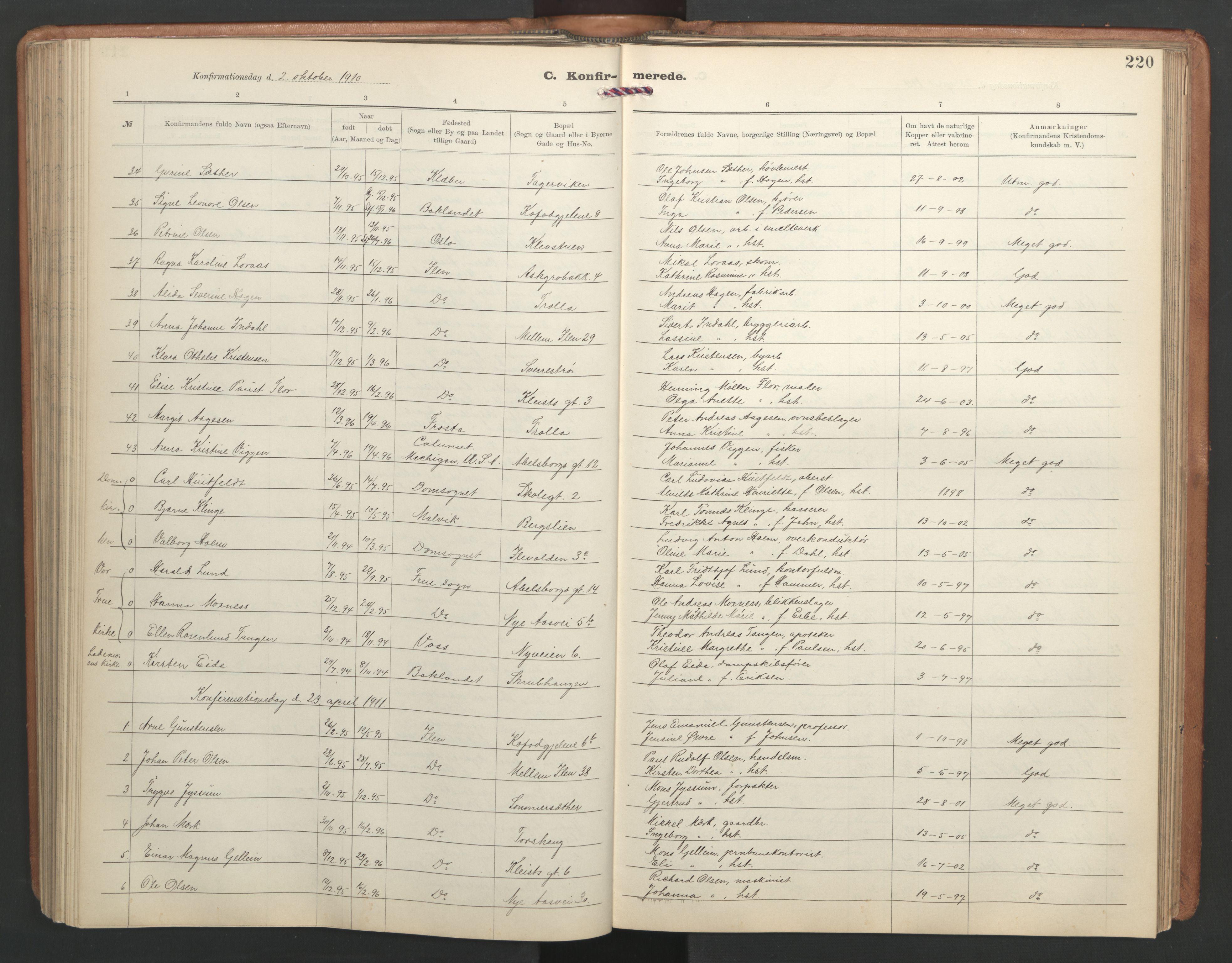 SAT, Ministerialprotokoller, klokkerbøker og fødselsregistre - Sør-Trøndelag, 603/L0173: Klokkerbok nr. 603C01, 1907-1962, s. 220