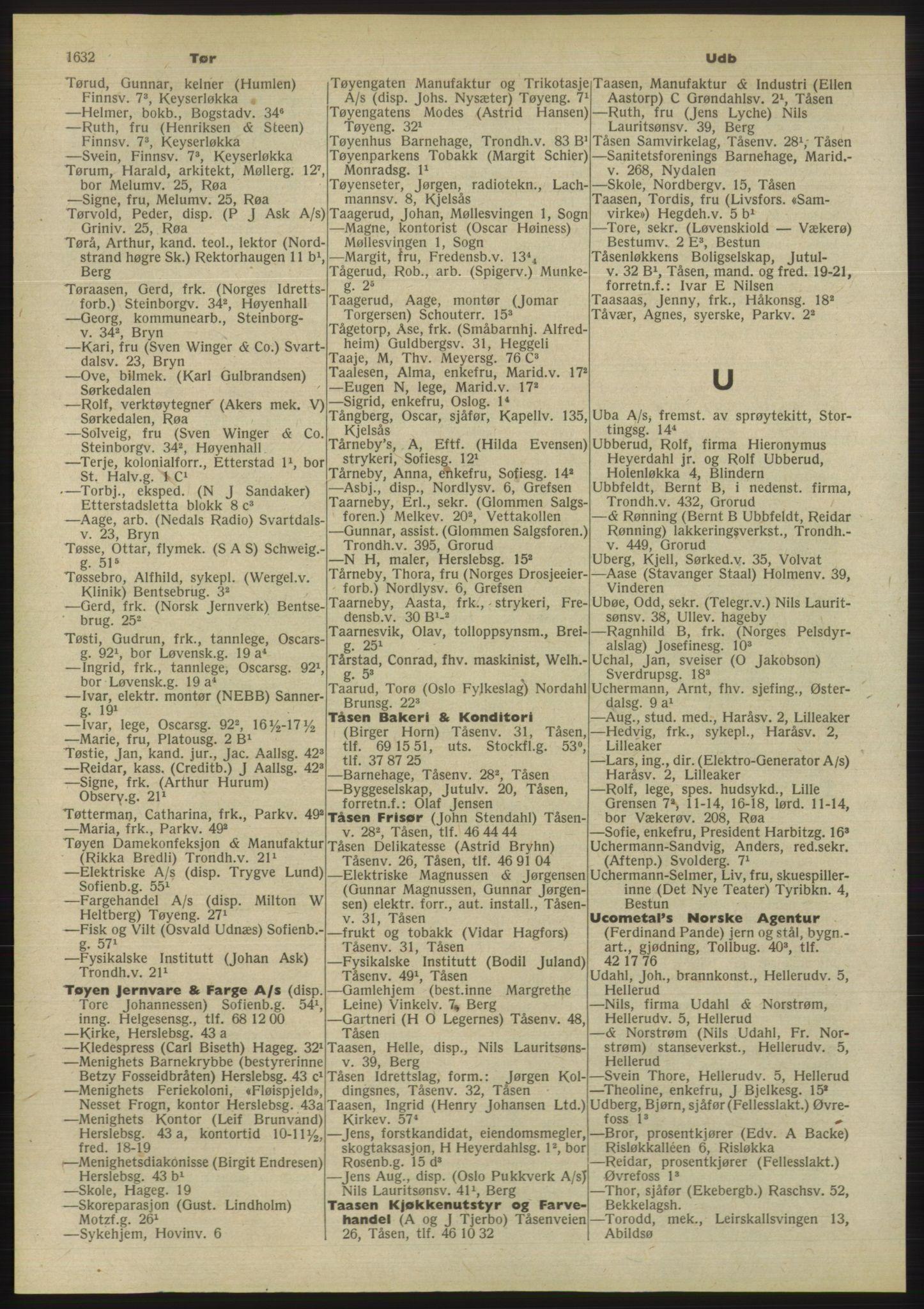 RA, Oslo adressebok (publikasjon)*, 1955, s. 1632