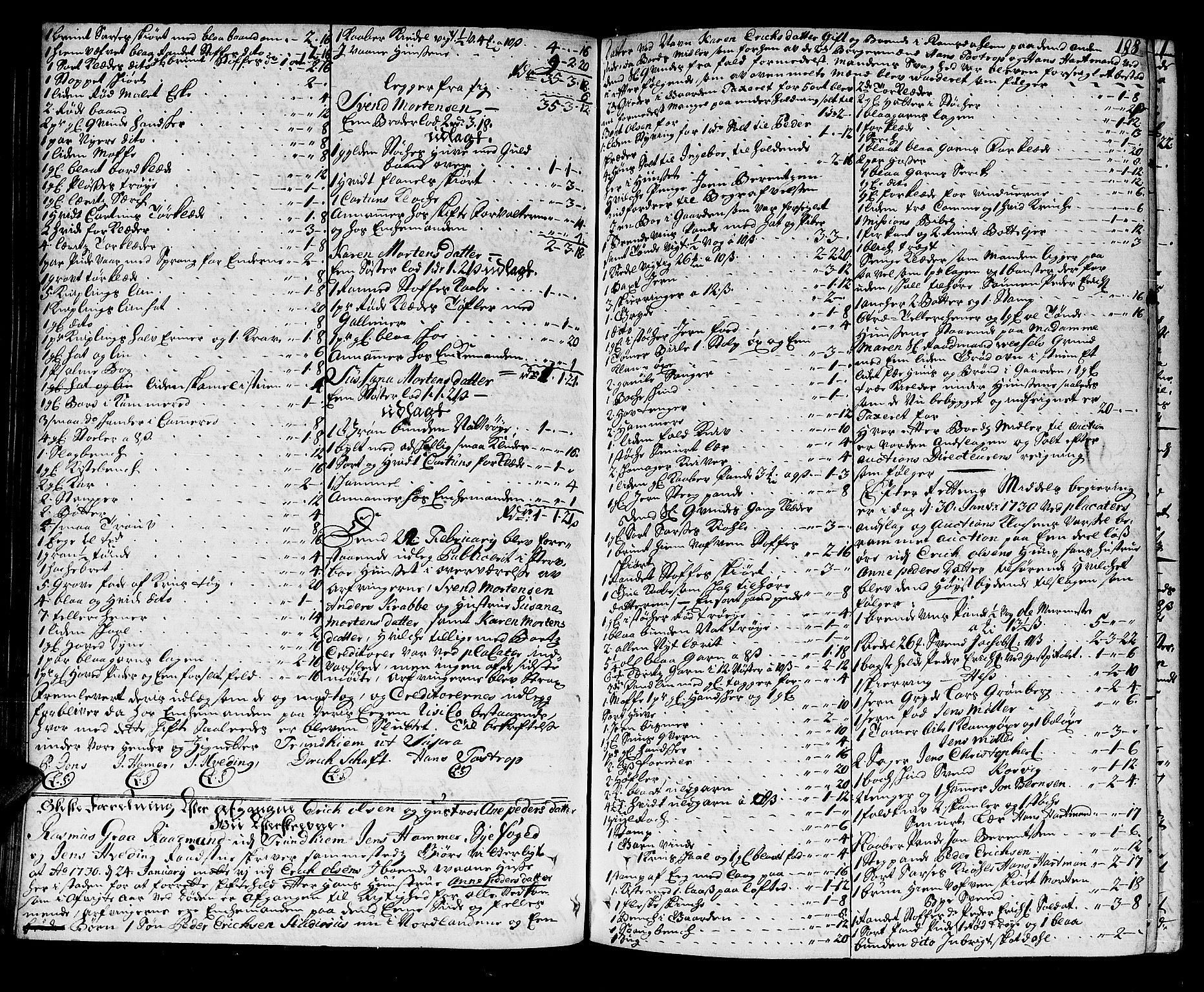 SAT, Trondheim byfogd, 3/3A/L0010: Skifteprotokoll - gml.nr.10. (m/ register) U, 1725-1733, s. 187b-188a