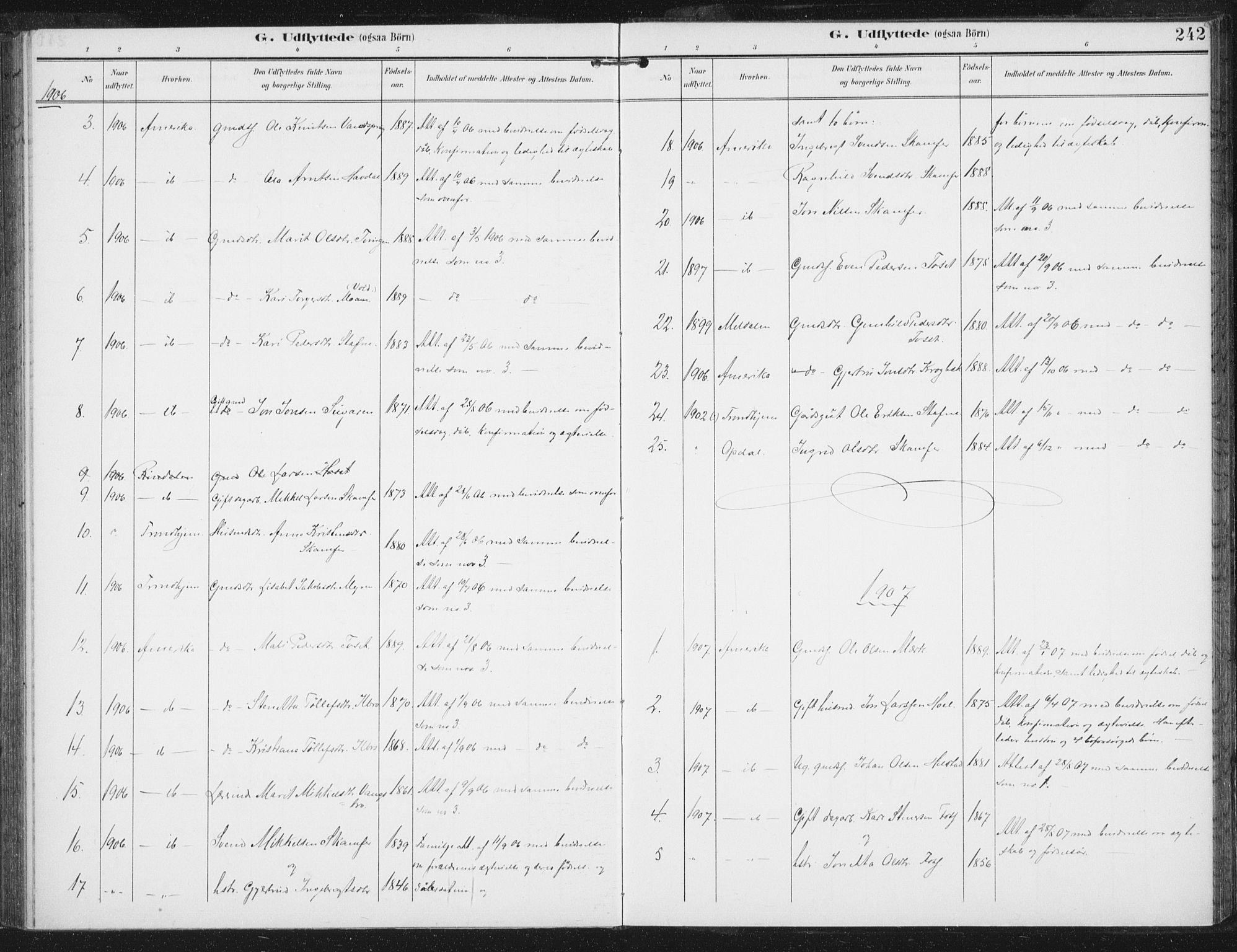 SAT, Ministerialprotokoller, klokkerbøker og fødselsregistre - Sør-Trøndelag, 674/L0872: Ministerialbok nr. 674A04, 1897-1907, s. 242