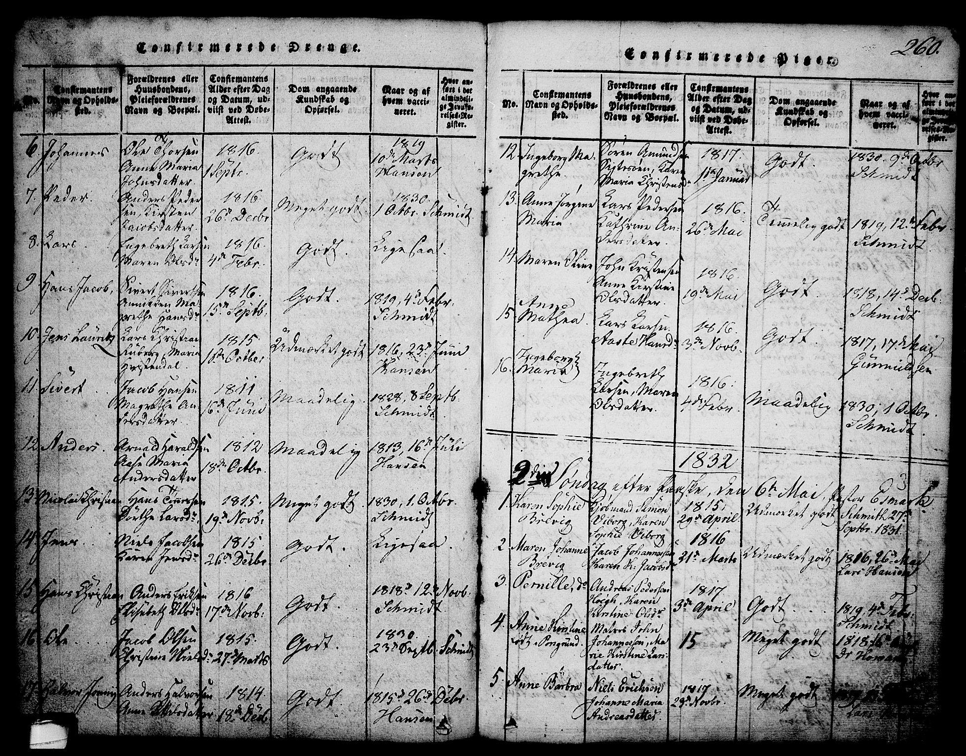 SAKO, Brevik kirkebøker, G/Ga/L0001: Klokkerbok nr. 1, 1814-1845, s. 260