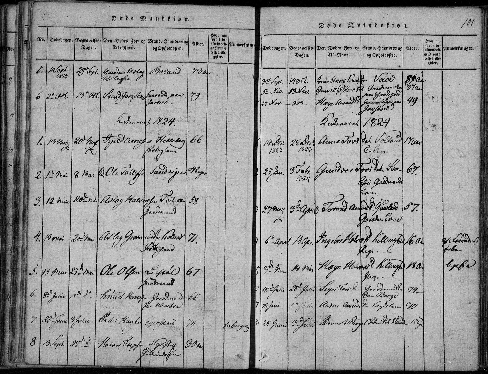 SAKO, Rauland kirkebøker, F/Fa/L0001: Ministerialbok nr. 1, 1814-1859, s. 101