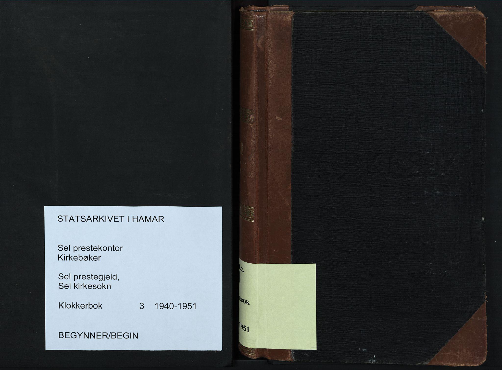 SAH, Sel prestekontor, Klokkerbok nr. 3, 1940-1951