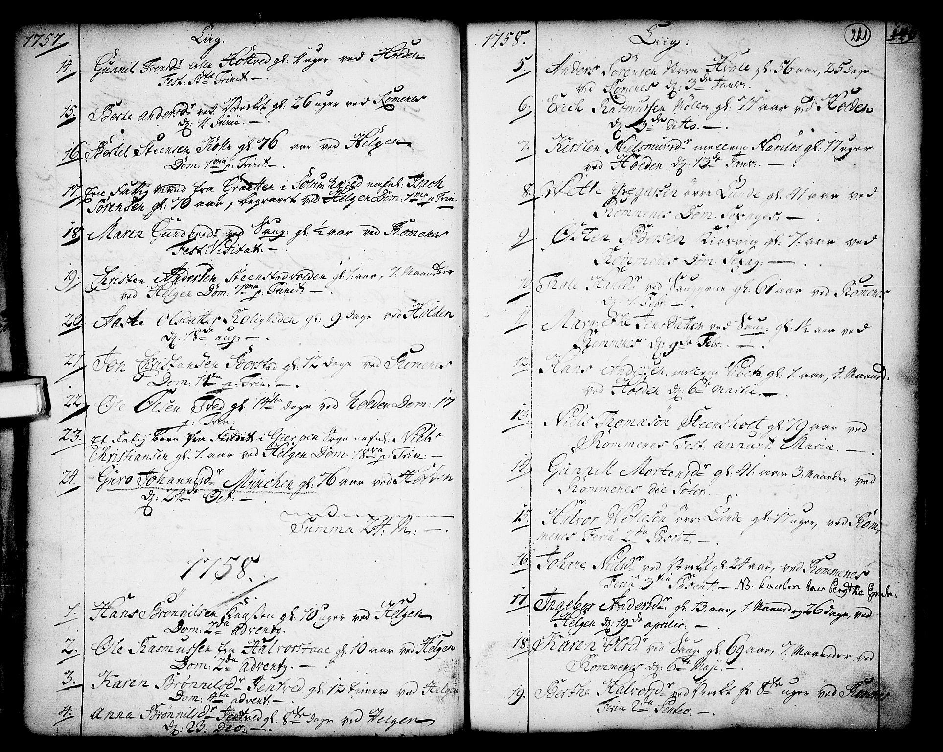 SAKO, Holla kirkebøker, F/Fa/L0001: Ministerialbok nr. 1, 1717-1779, s. 221