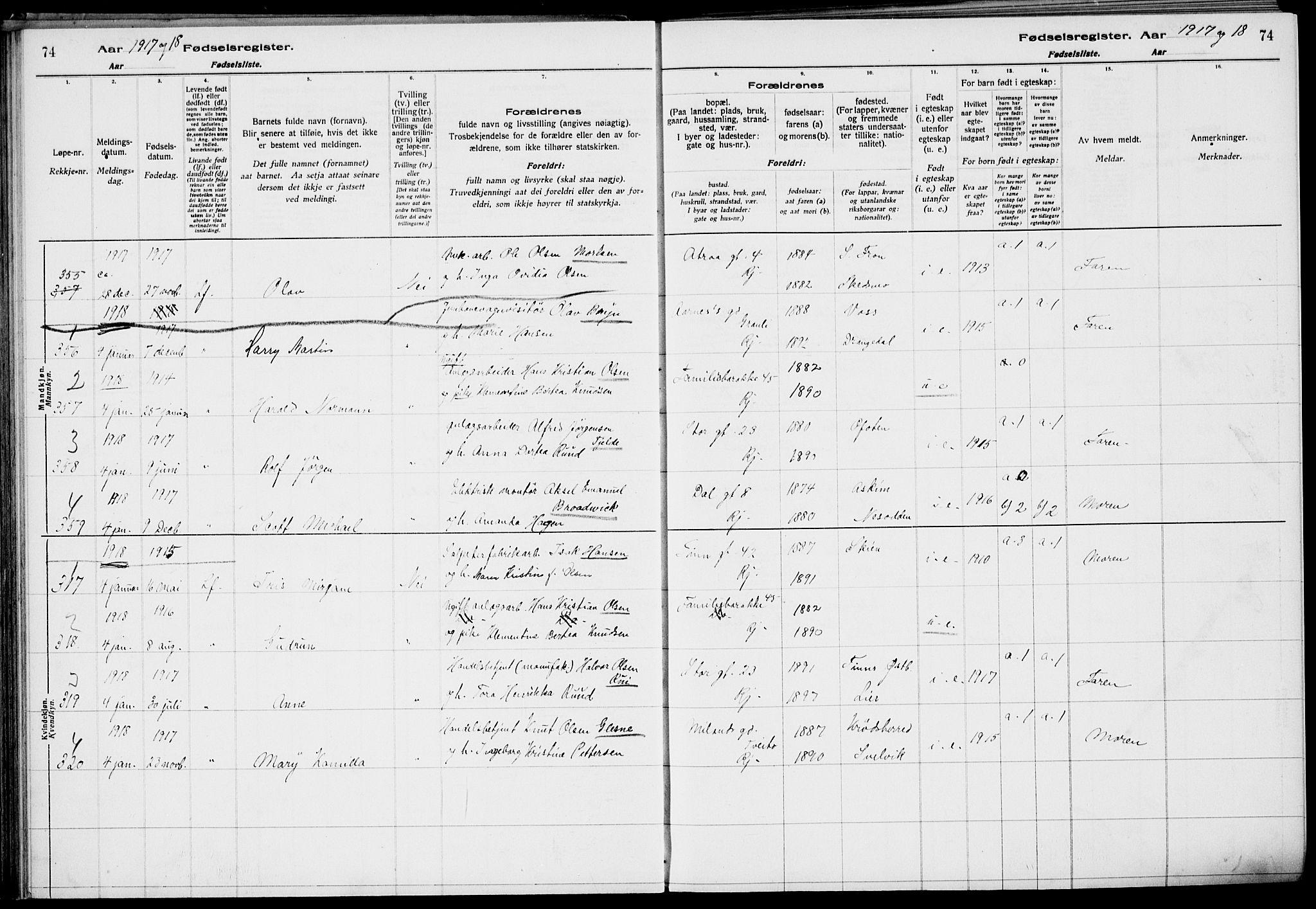 SAKO, Rjukan kirkebøker, J/Ja/L0001: Fødselsregister nr. 1, 1916-1922, s. 74