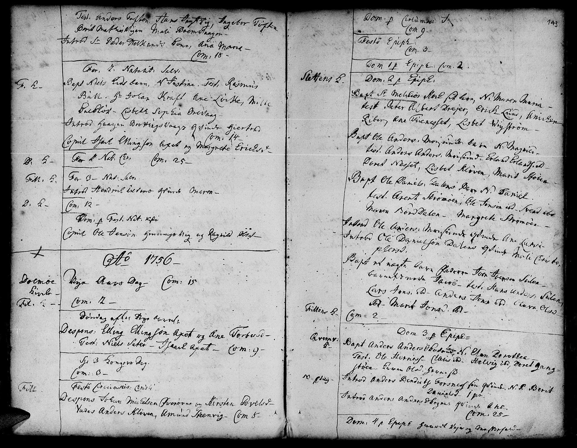 SAT, Ministerialprotokoller, klokkerbøker og fødselsregistre - Sør-Trøndelag, 634/L0525: Ministerialbok nr. 634A01, 1736-1775, s. 143