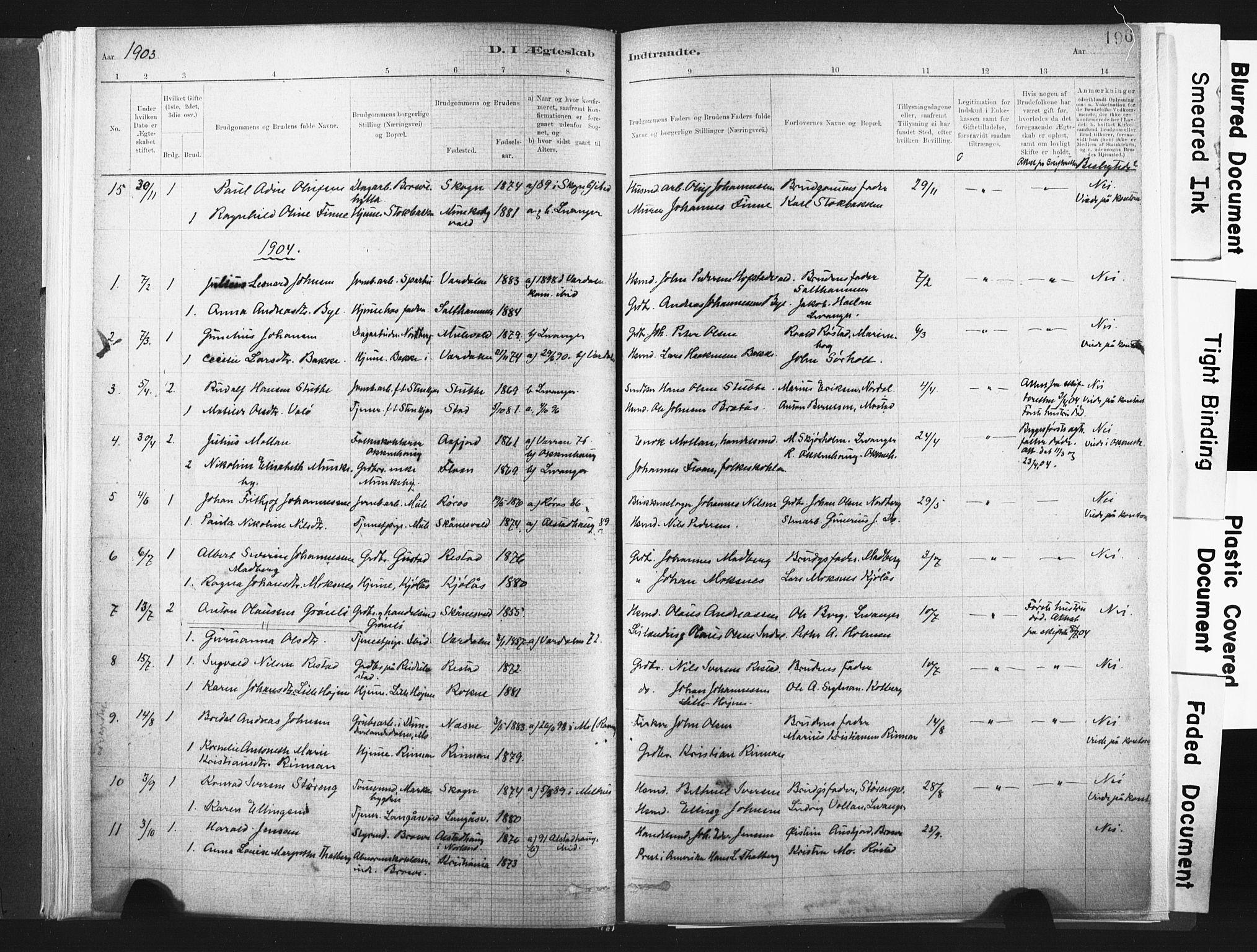SAT, Ministerialprotokoller, klokkerbøker og fødselsregistre - Nord-Trøndelag, 721/L0207: Ministerialbok nr. 721A02, 1880-1911, s. 196