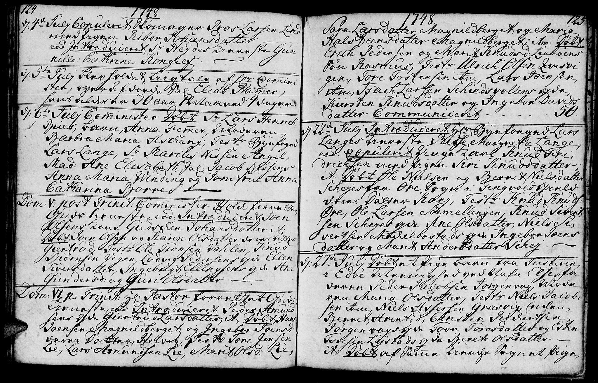SAT, Ministerialprotokoller, klokkerbøker og fødselsregistre - Møre og Romsdal, 572/L0839: Ministerialbok nr. 572A02, 1739-1754, s. 124-125