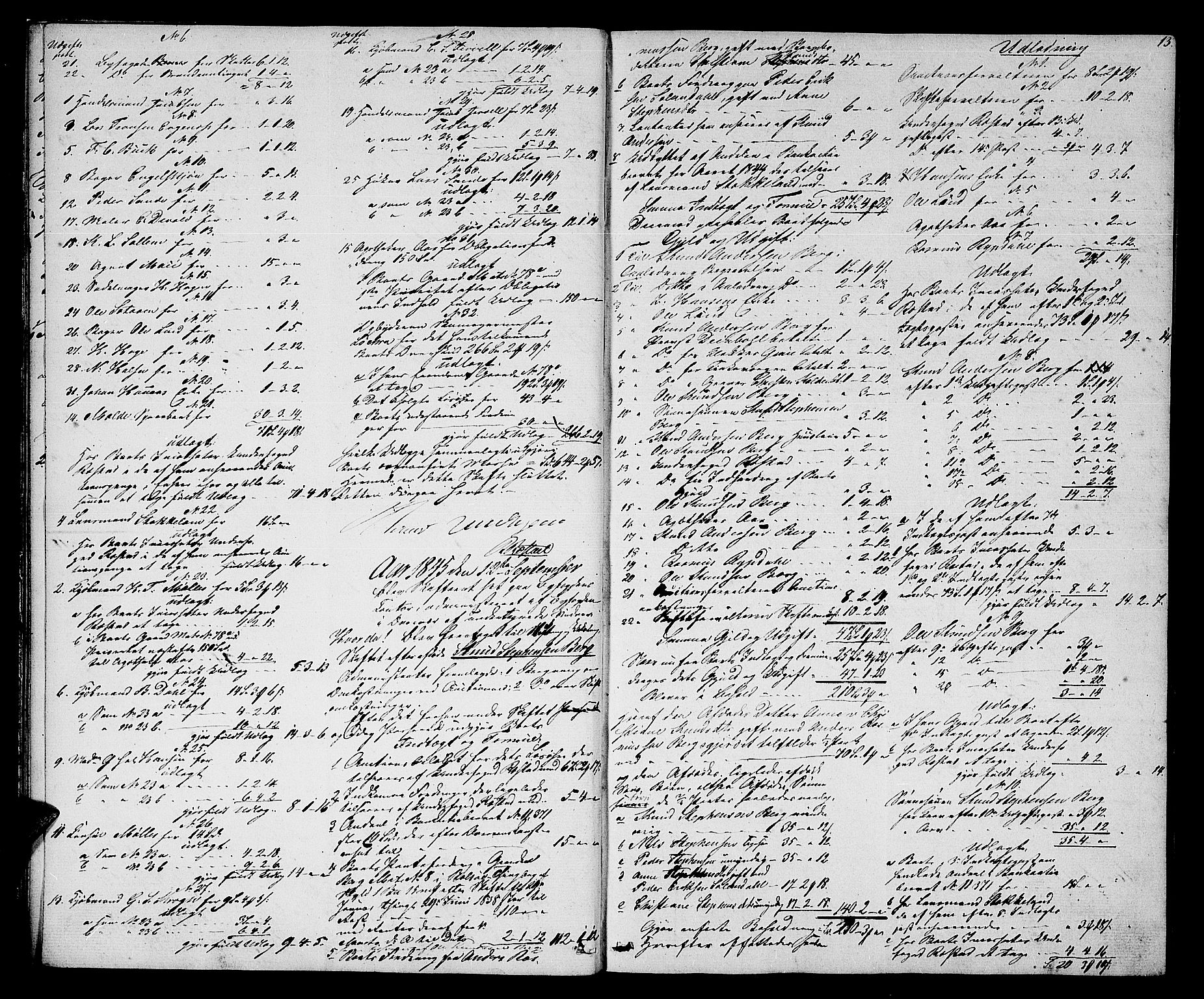 SAT, Molde byfogd, 3/3Ab/L0001: Skifteutlodningsprotokoll, 1842-1867, s. 13