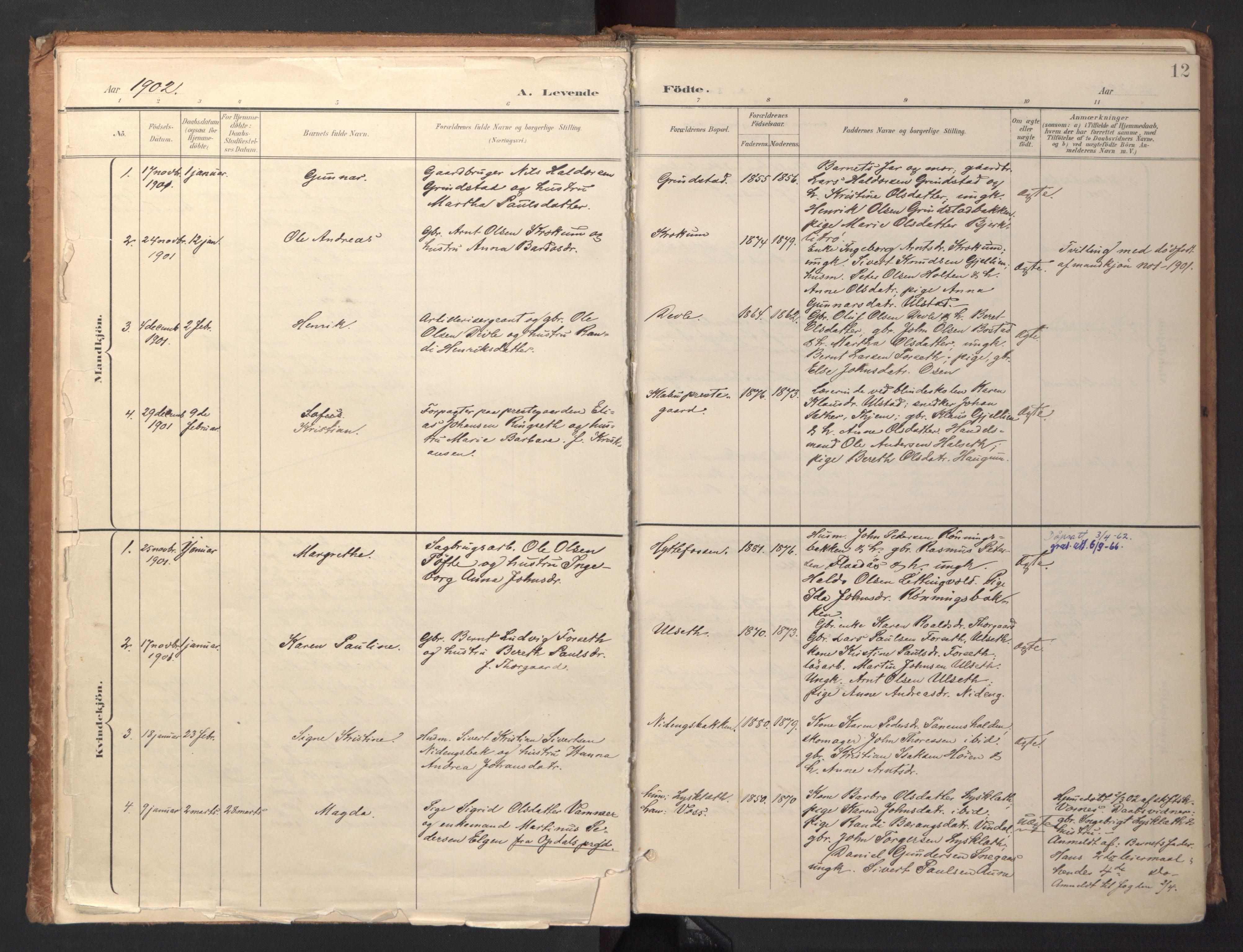 SAT, Ministerialprotokoller, klokkerbøker og fødselsregistre - Sør-Trøndelag, 618/L0448: Ministerialbok nr. 618A11, 1898-1916, s. 12