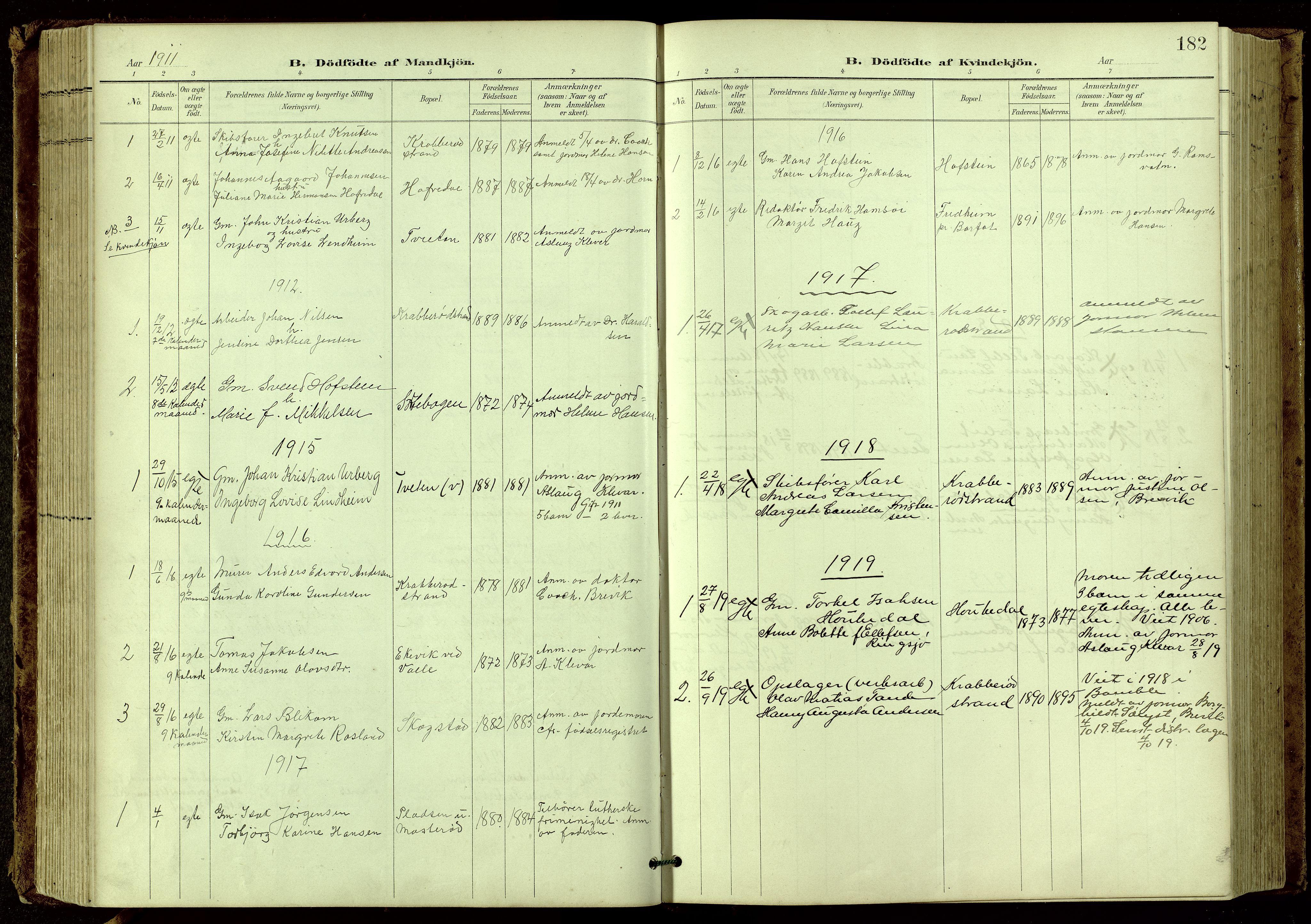 SAKO, Bamble kirkebøker, G/Ga/L0010: Klokkerbok nr. I 10, 1901-1919, s. 182