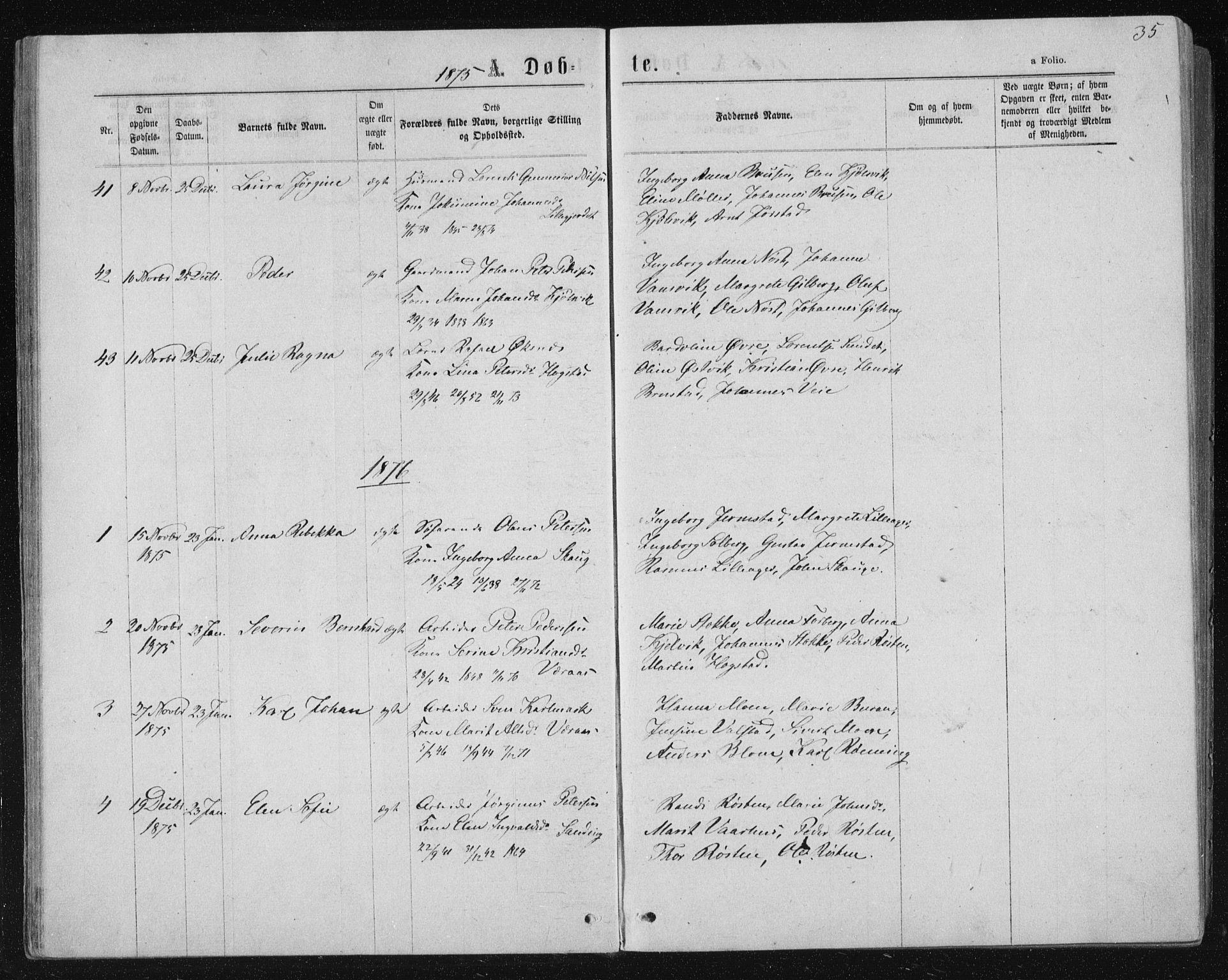 SAT, Ministerialprotokoller, klokkerbøker og fødselsregistre - Nord-Trøndelag, 722/L0219: Ministerialbok nr. 722A06, 1868-1880, s. 35