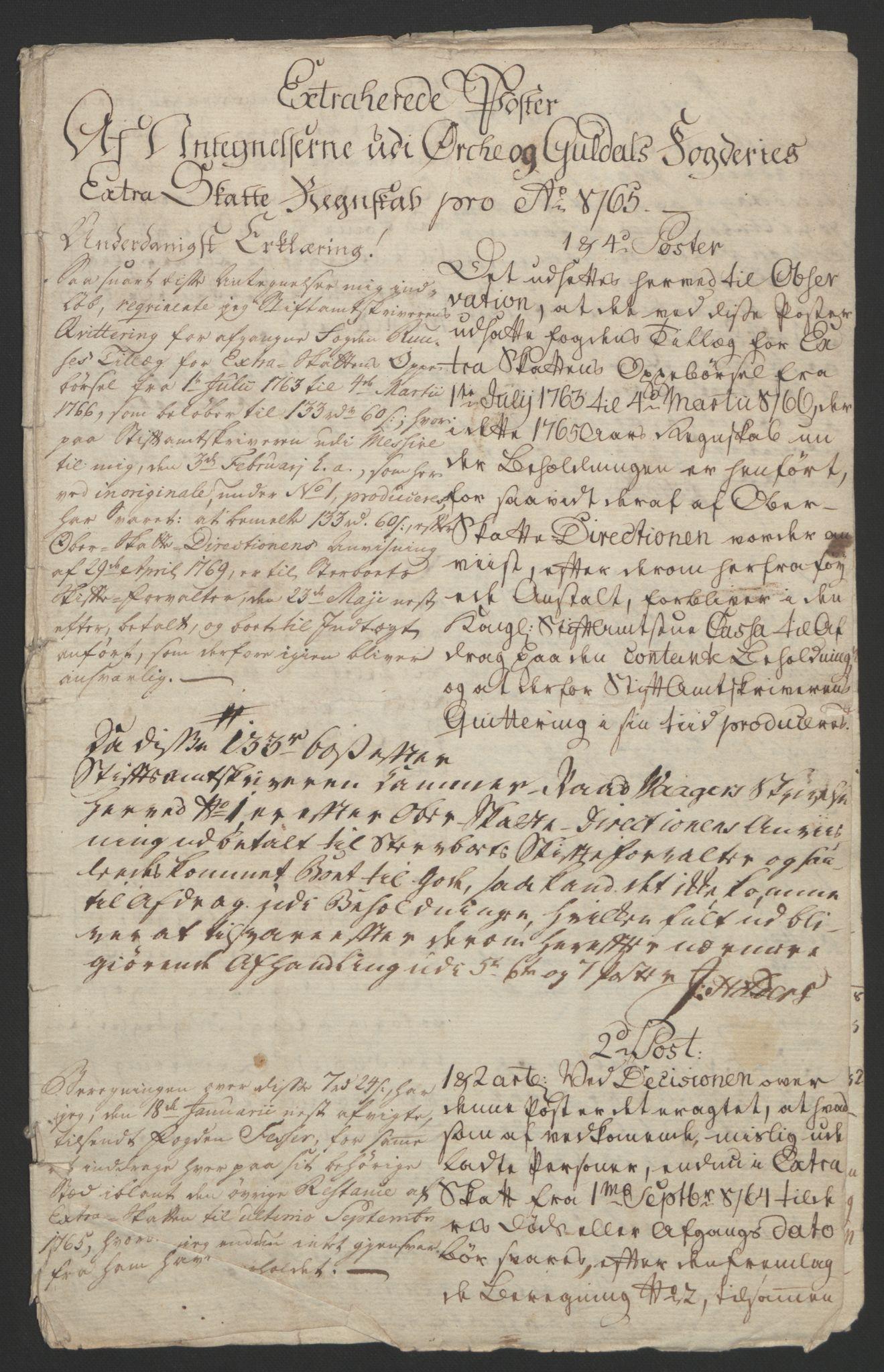 RA, Rentekammeret inntil 1814, Reviderte regnskaper, Fogderegnskap, R60/L4094: Ekstraskatten Orkdal og Gauldal, 1762-1765, s. 317