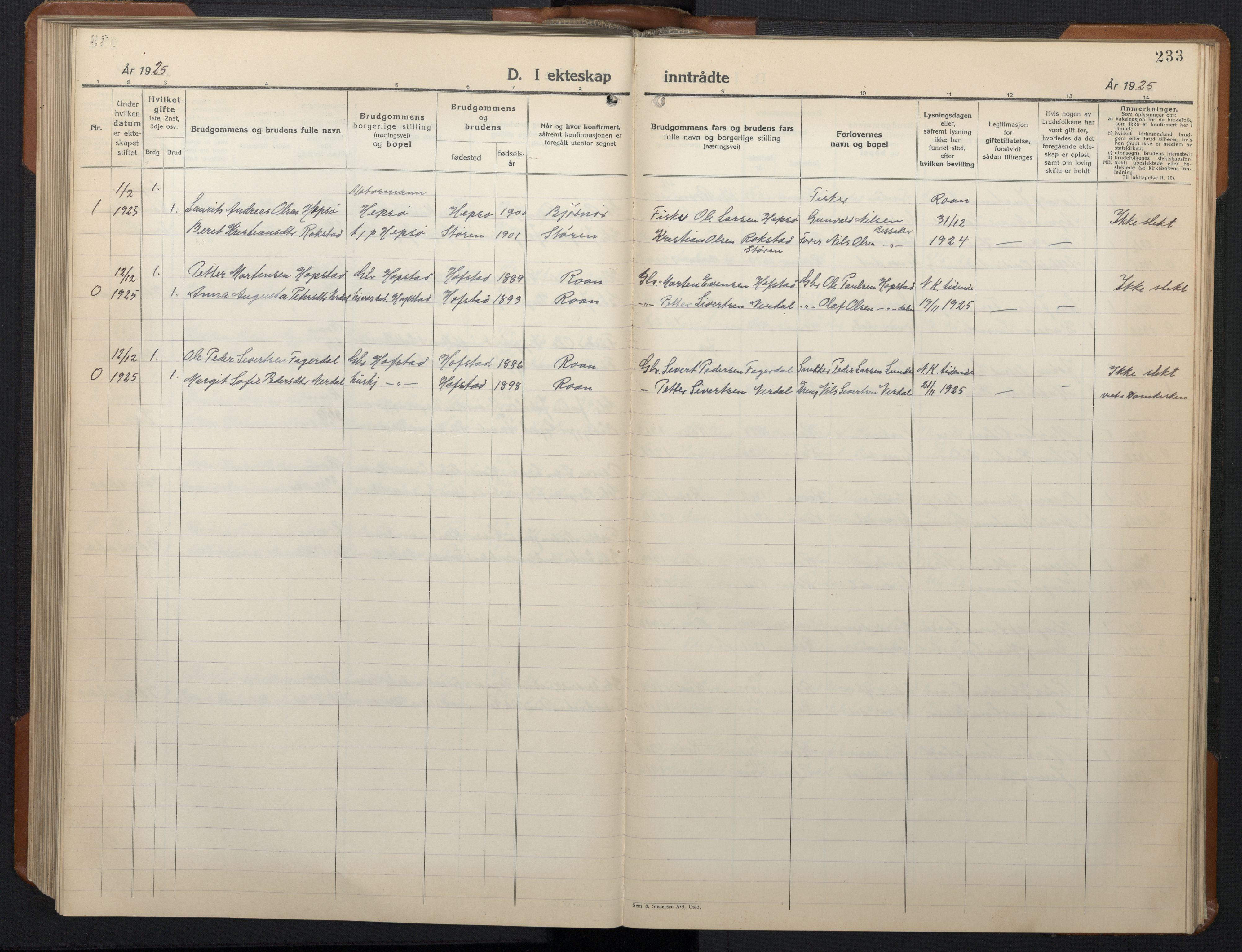 SAT, Ministerialprotokoller, klokkerbøker og fødselsregistre - Sør-Trøndelag, 657/L0718: Klokkerbok nr. 657C05, 1923-1948, s. 233