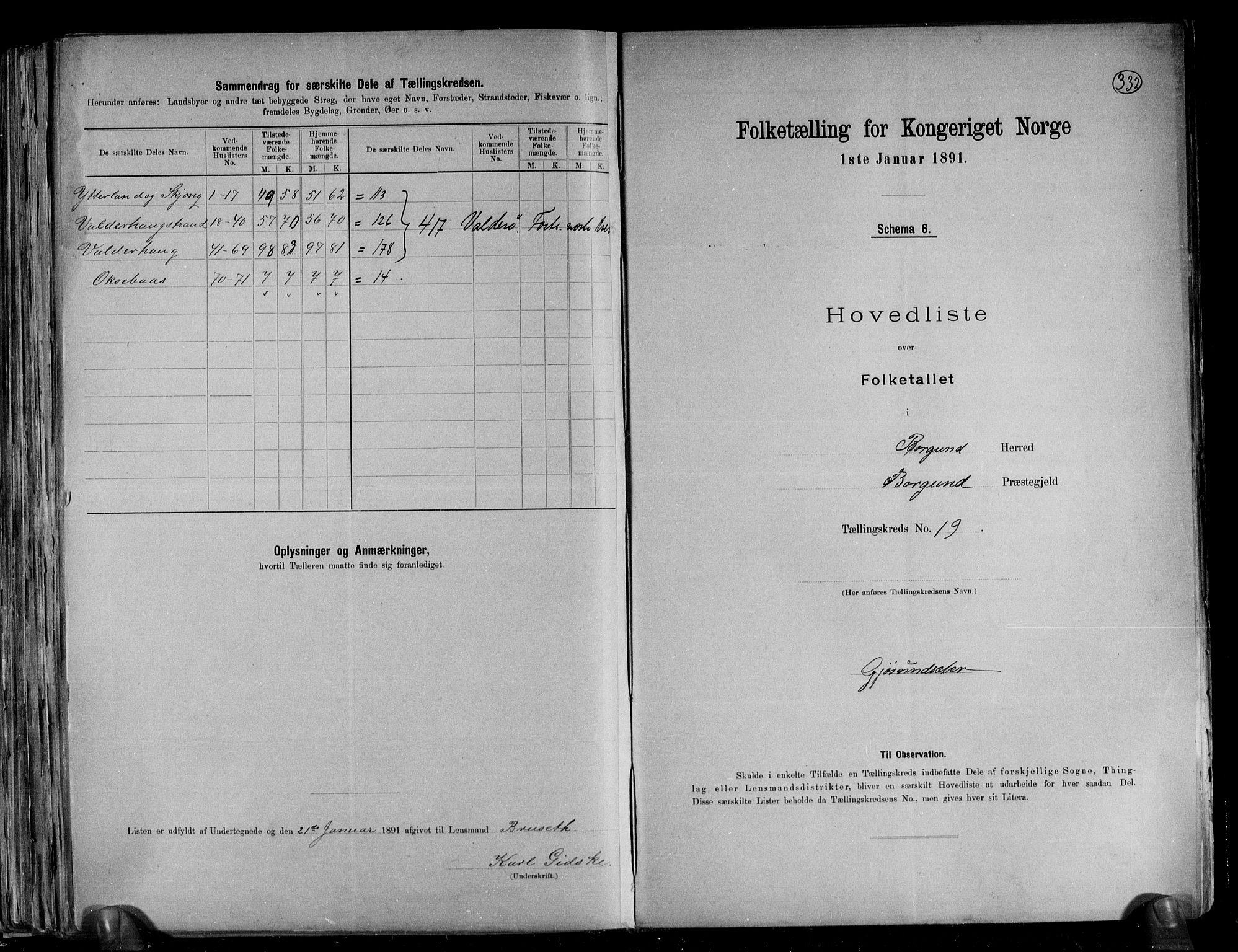 RA, Folketelling 1891 for 1531 Borgund herred, 1891, s. 43