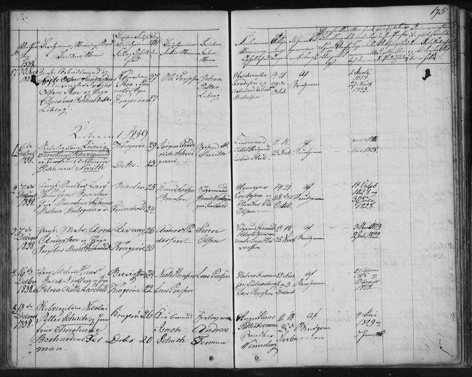 SAKO, Kragerø kirkebøker, F/Fa/L0005: Ministerialbok nr. 5, 1832-1847, s. 175
