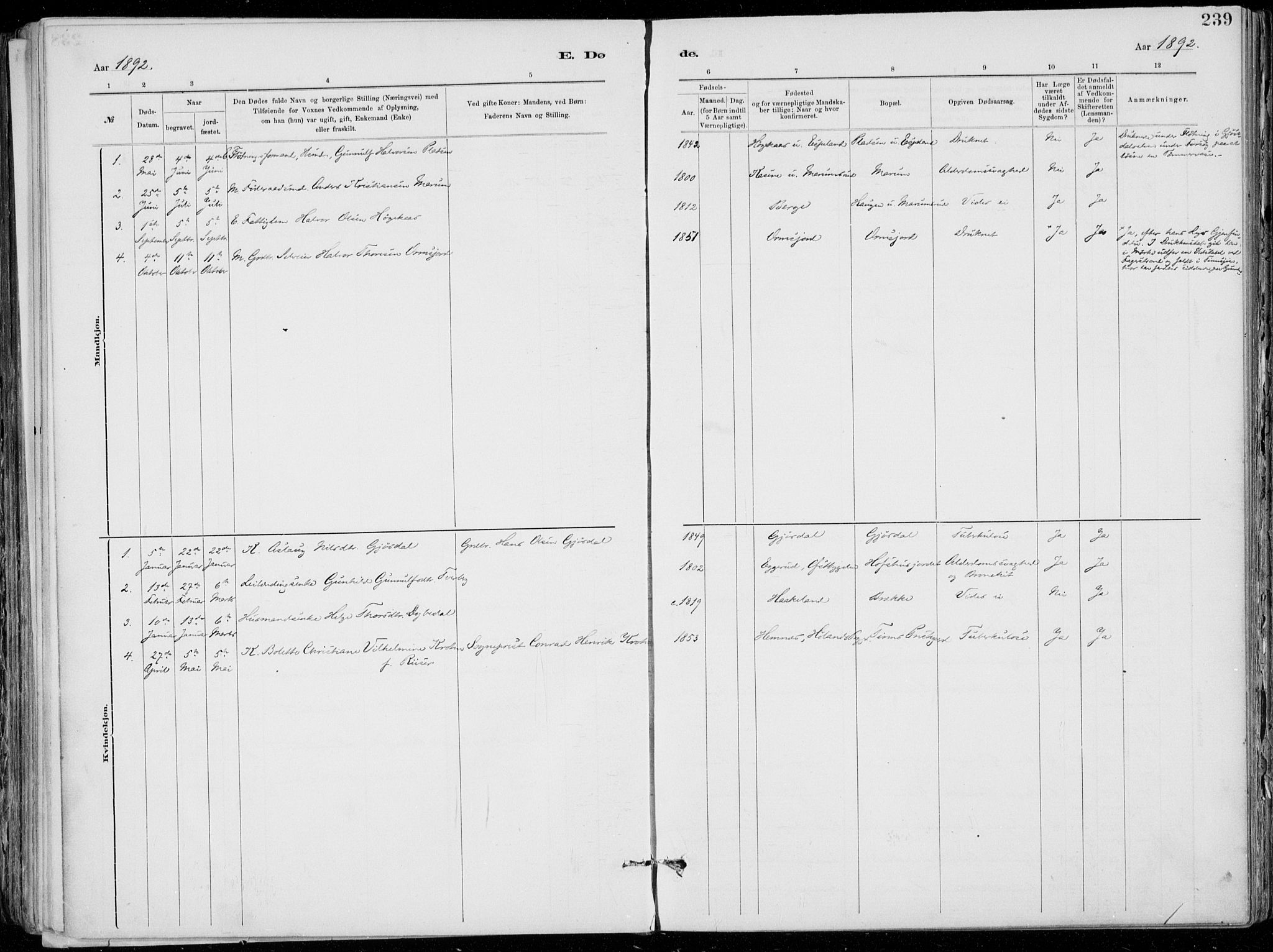 SAKO, Tinn kirkebøker, F/Fa/L0007: Ministerialbok nr. I 7, 1878-1922, s. 239