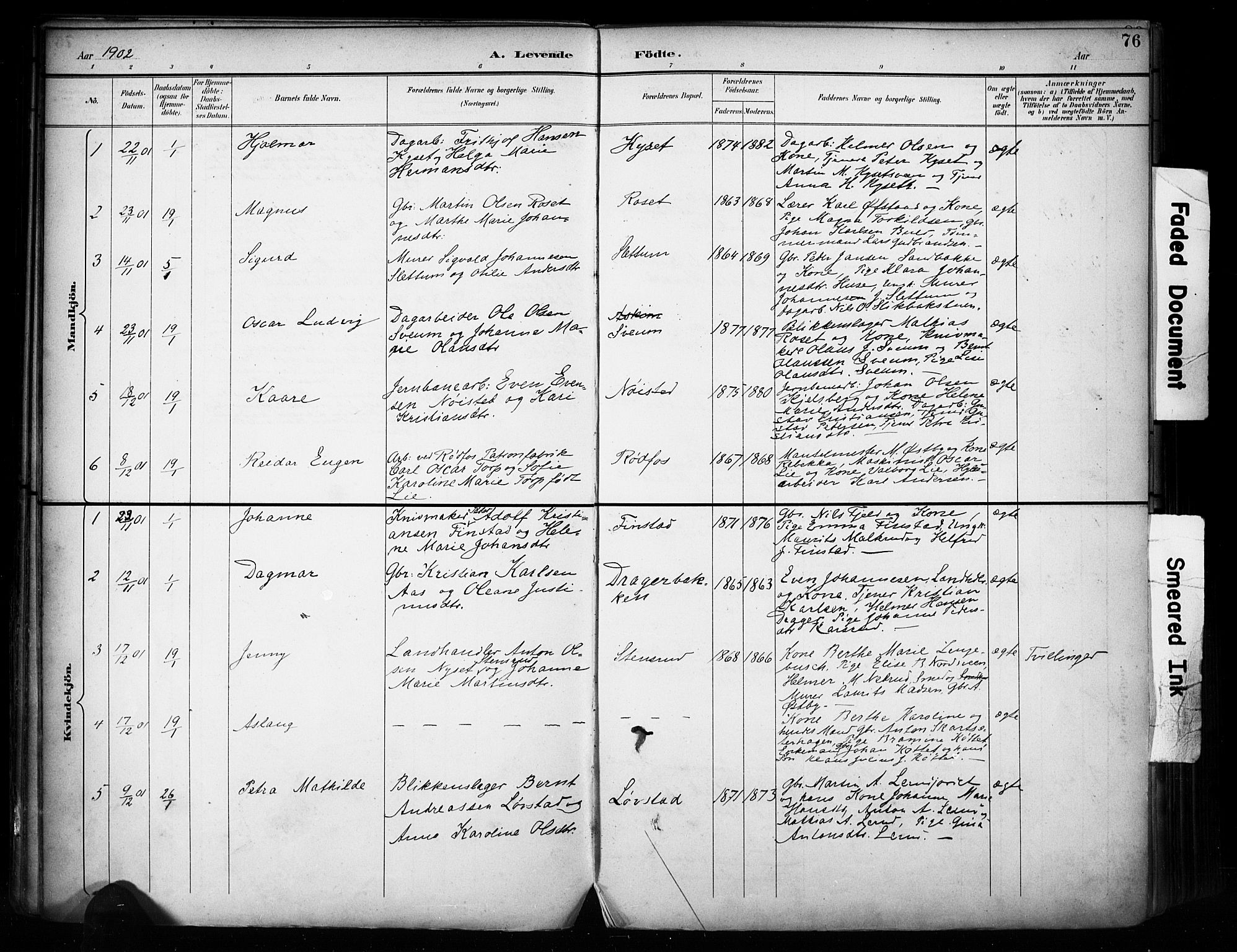 SAH, Vestre Toten prestekontor, H/Ha/Haa/L0011: Ministerialbok nr. 11, 1895-1906, s. 76