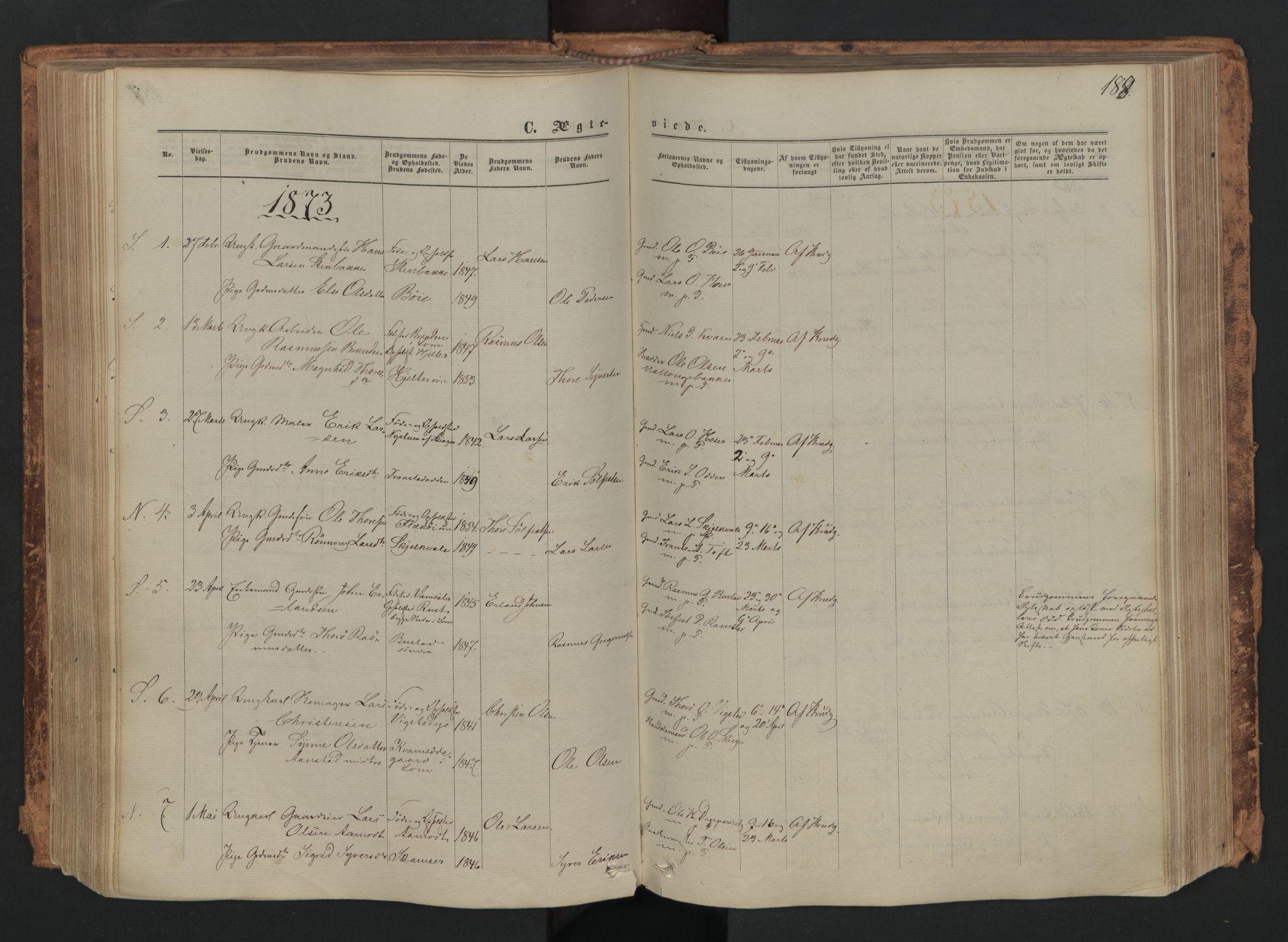 SAH, Skjåk prestekontor, Ministerialbok nr. 1, 1863-1879, s. 188