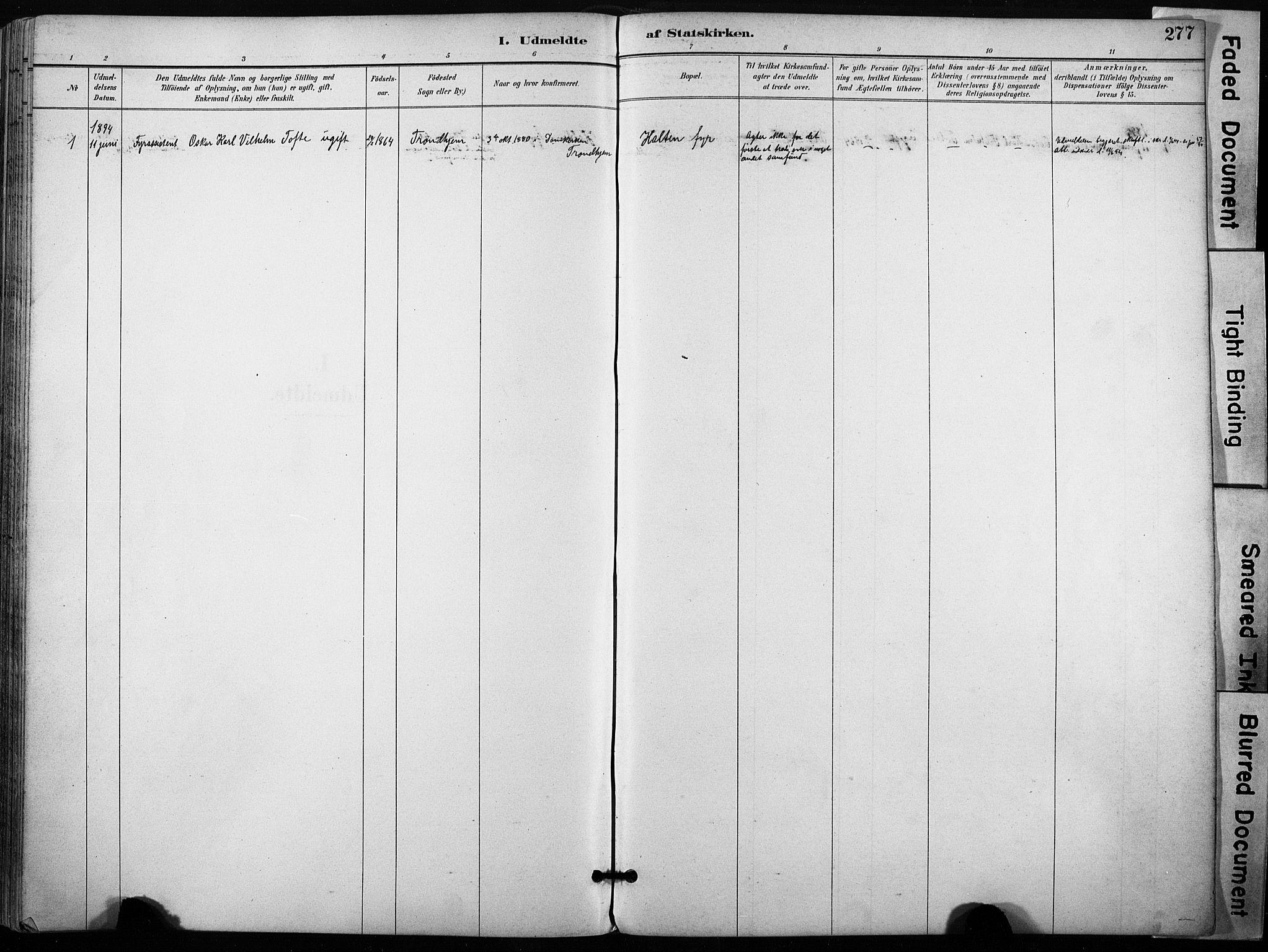 SAT, Ministerialprotokoller, klokkerbøker og fødselsregistre - Sør-Trøndelag, 640/L0579: Ministerialbok nr. 640A04, 1889-1902, s. 277
