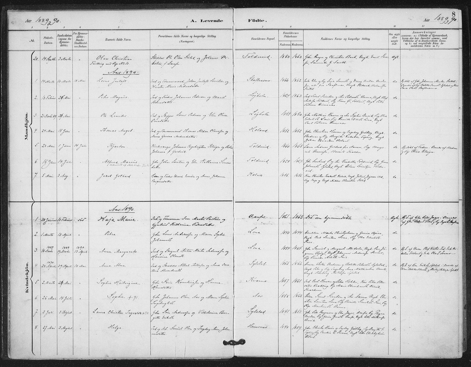 SAT, Ministerialprotokoller, klokkerbøker og fødselsregistre - Nord-Trøndelag, 783/L0660: Ministerialbok nr. 783A02, 1886-1918, s. 8